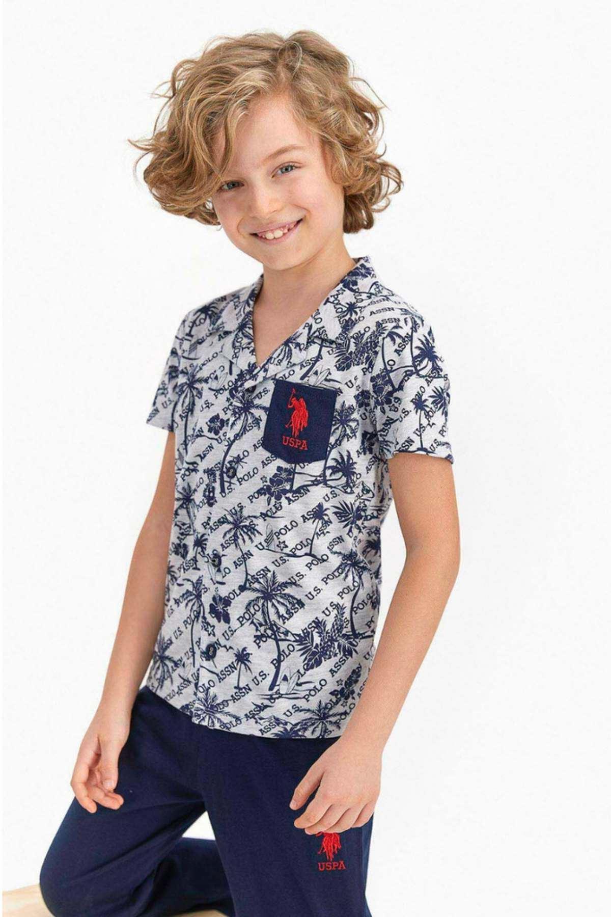 4-8 Yaş Us Polo ASSN Lisanslı Palm Gri Erkek Çocuk Pijama Takım
