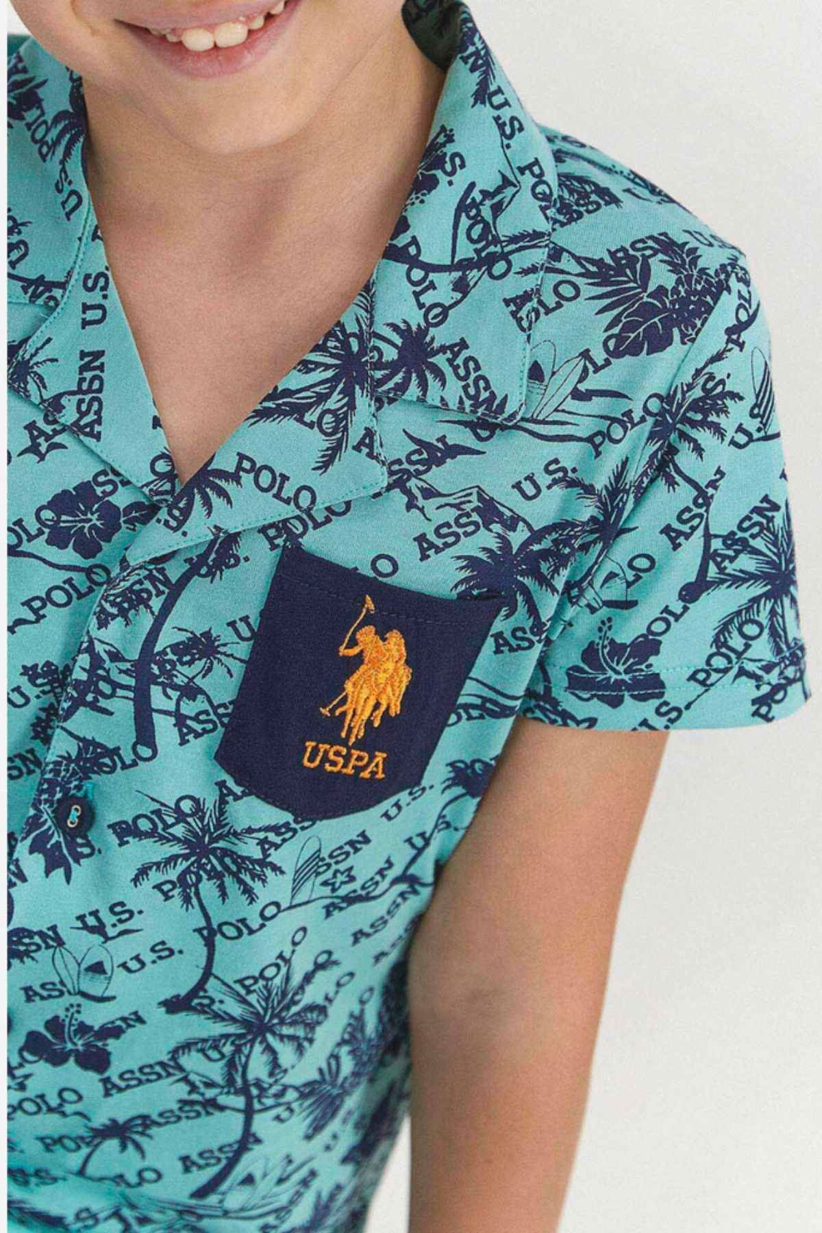 9-15 Yaş Us Polo ASSN Lisanslı Palm Yeşil Erkek Çocuk Pijama Takım