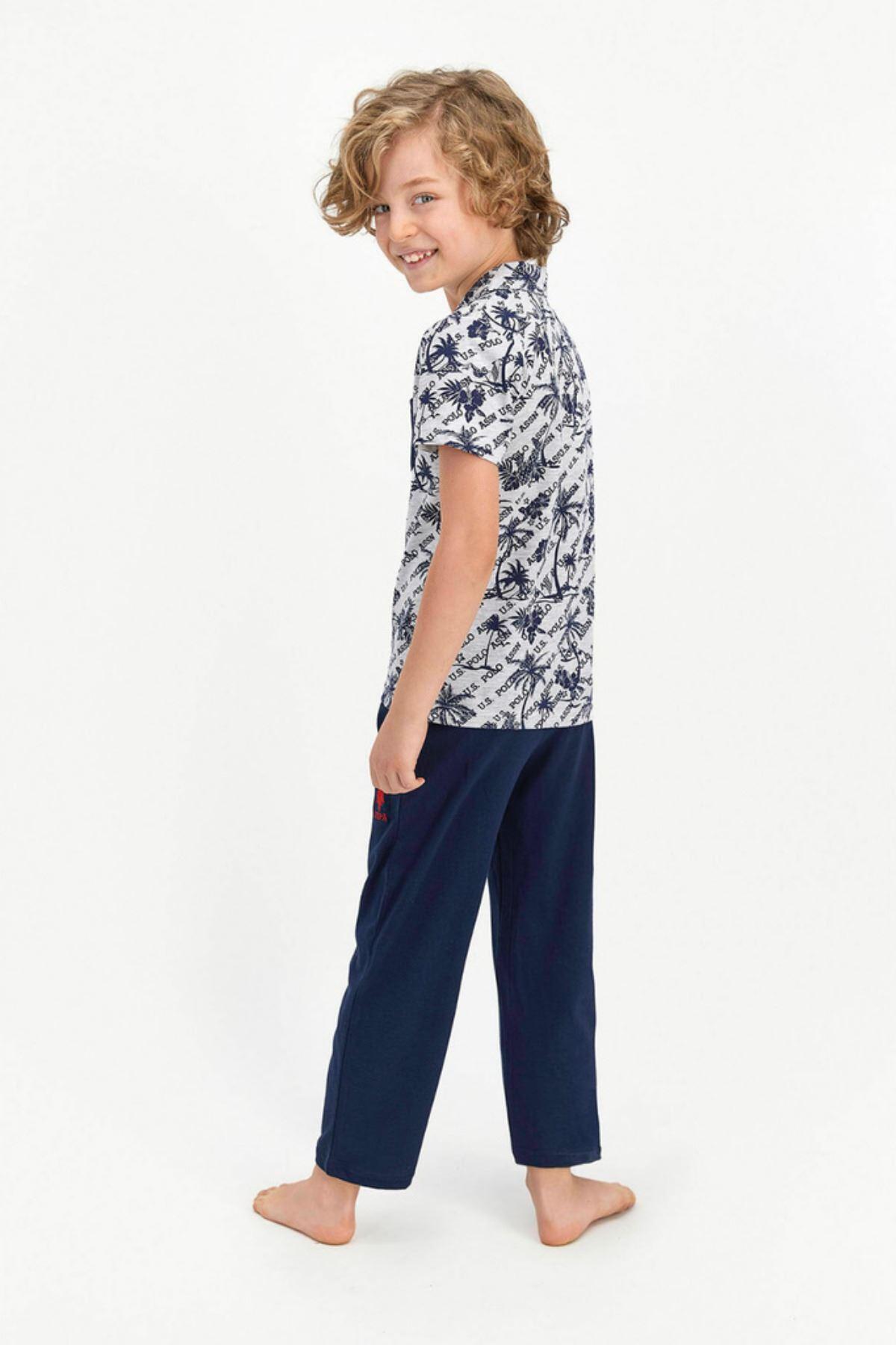 9-15 Yaş Us Polo ASSN Lisanslı Palm Gri Erkek Çocuk Pijama Takım
