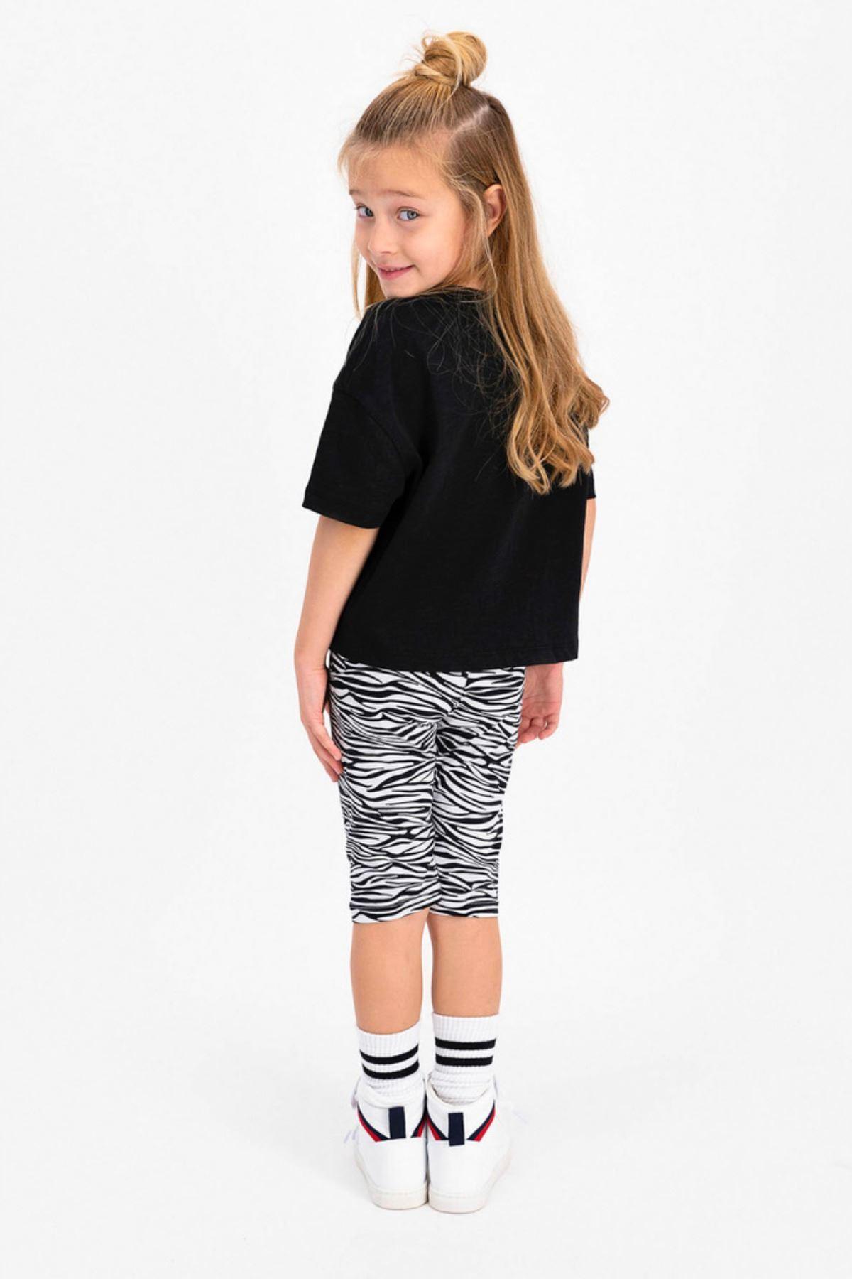 2-8 Yaş Zebra Desenli Kız Çocuk Takım