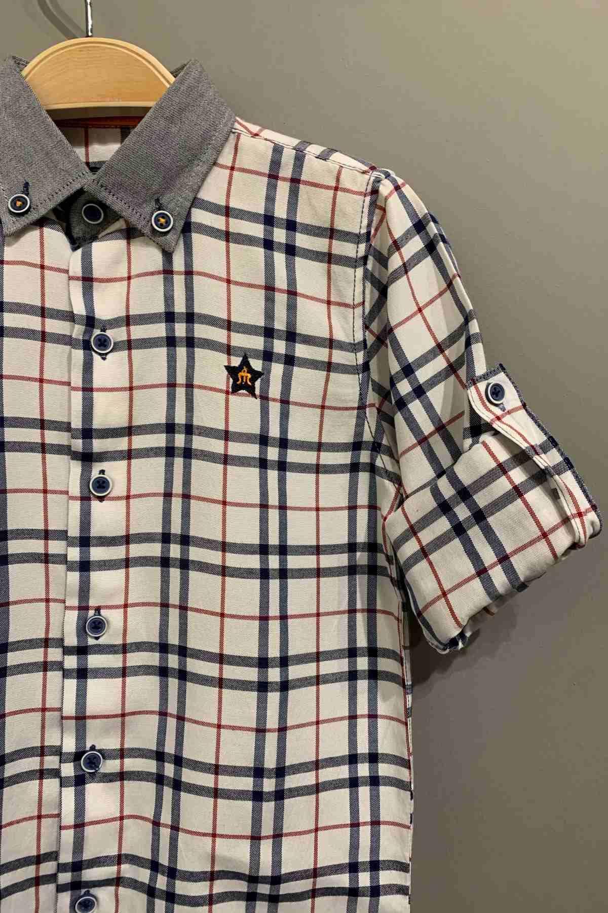 Kare Desen Erkek Çocuk Gömlek