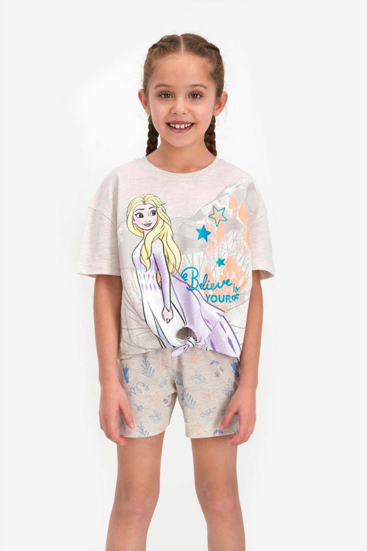 Elsa Frozen Lisanslı Kız Çocuk Takım- Krem