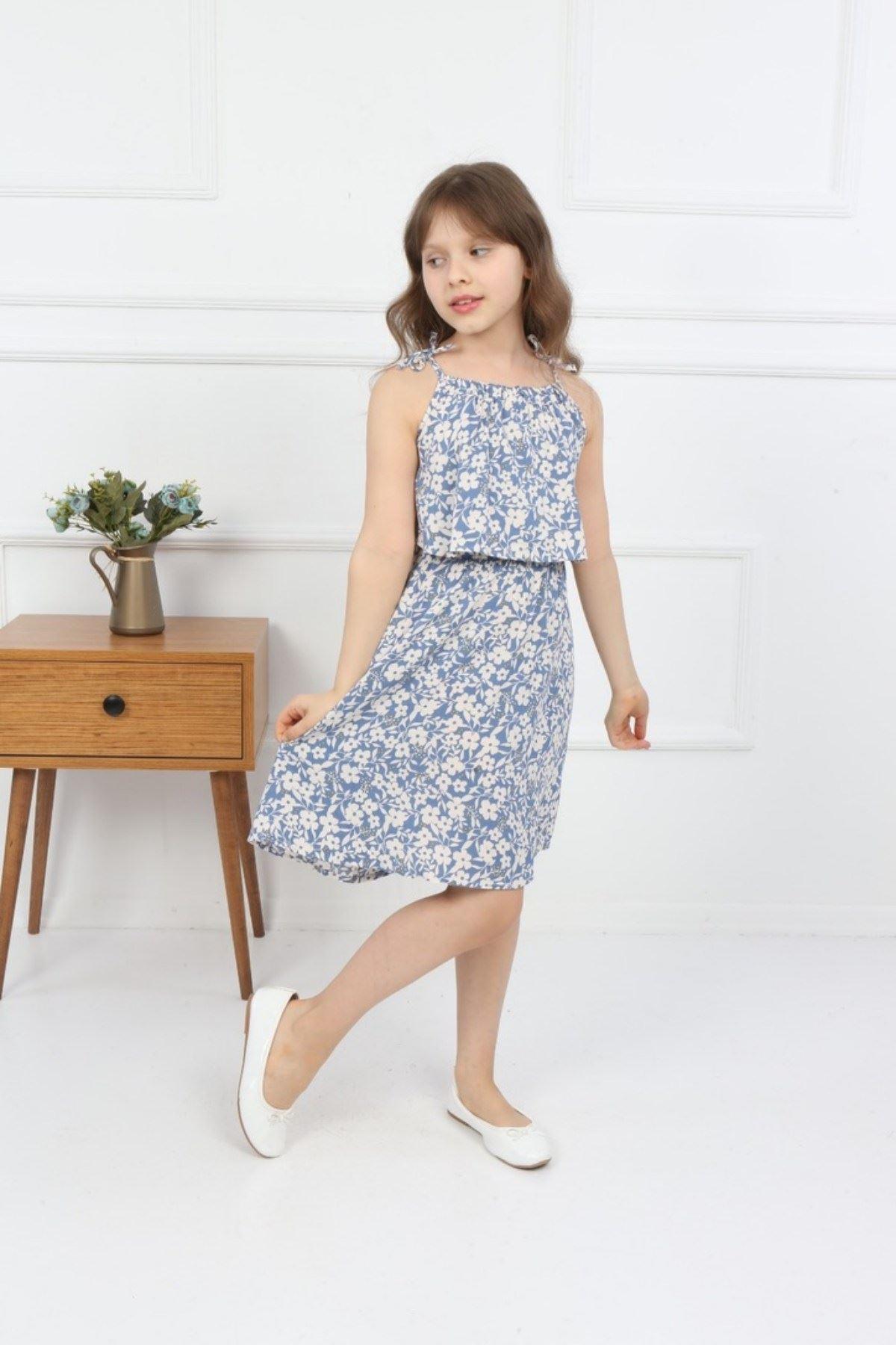 3-14 Yaş Trend Çiçek Desen Elbise - Mavi