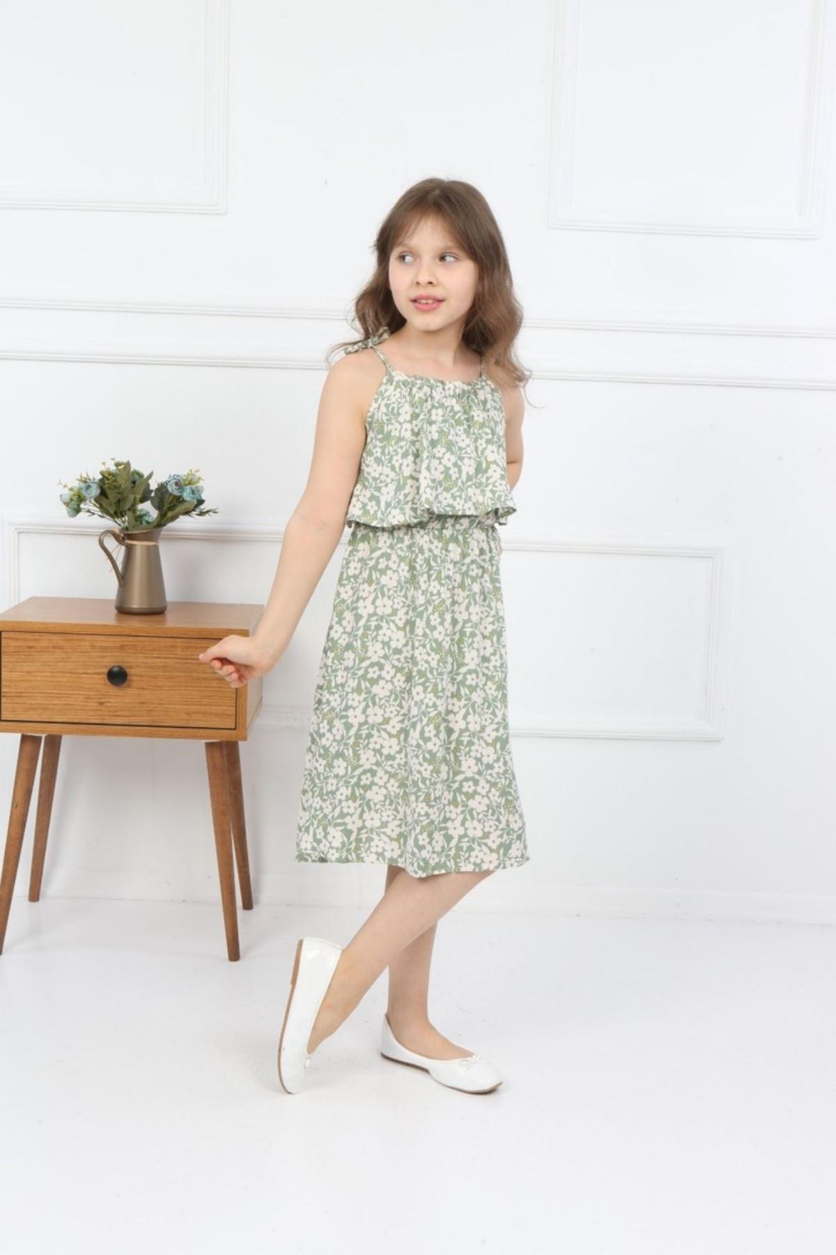 3-14 Yaş Trend Çiçek Desen Elbise - Yeşil