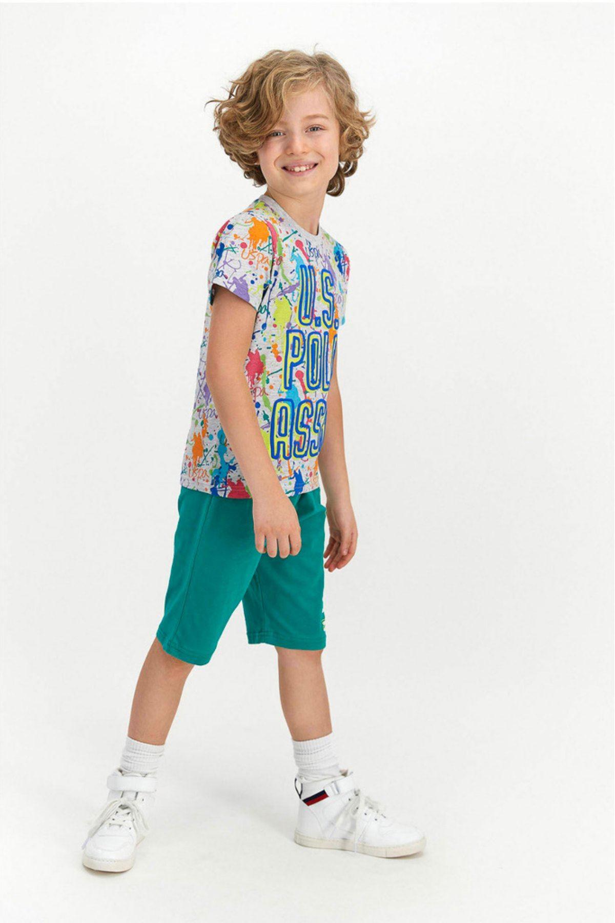 4-8 Yaş Us Polo ASSN Lisanslı Boya Desen Gri Erkek Çocuk Takım