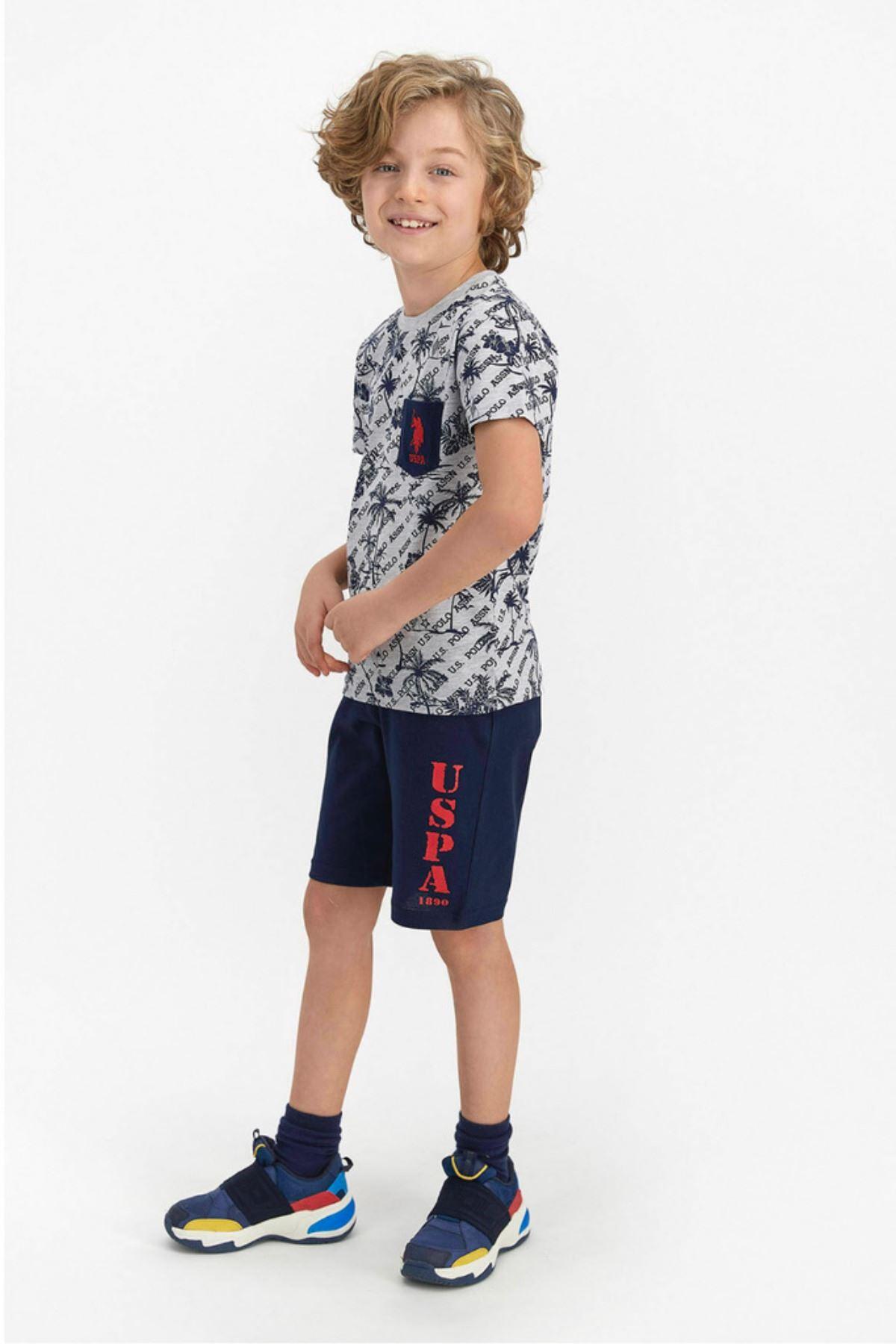 9-15 Yaş Us Polo ASSN Lisanslı Palmiye Gri Erkek Çocuk Takım