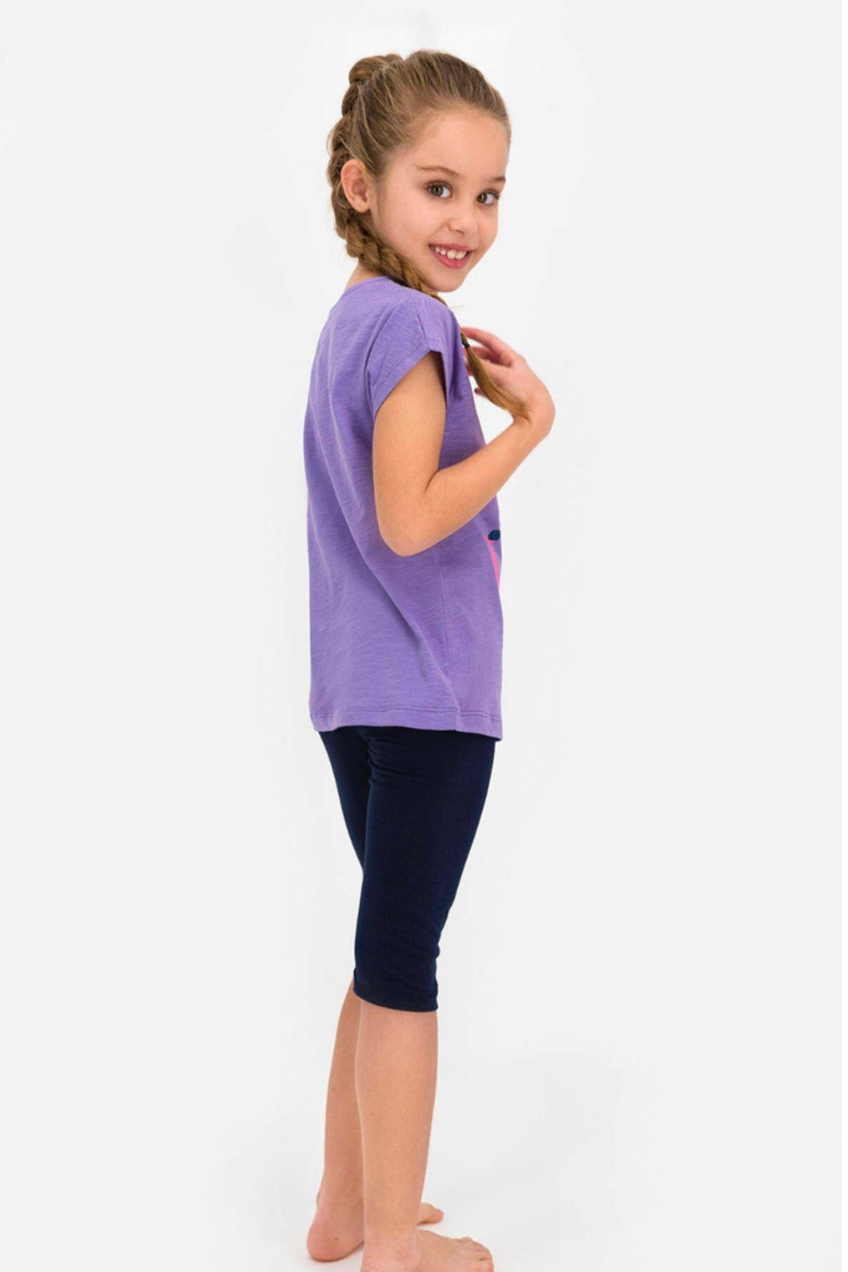 4-8 Yaş Us Polo ASSN Lisanslı Horseshoe Mor Kız Çocuk Takım