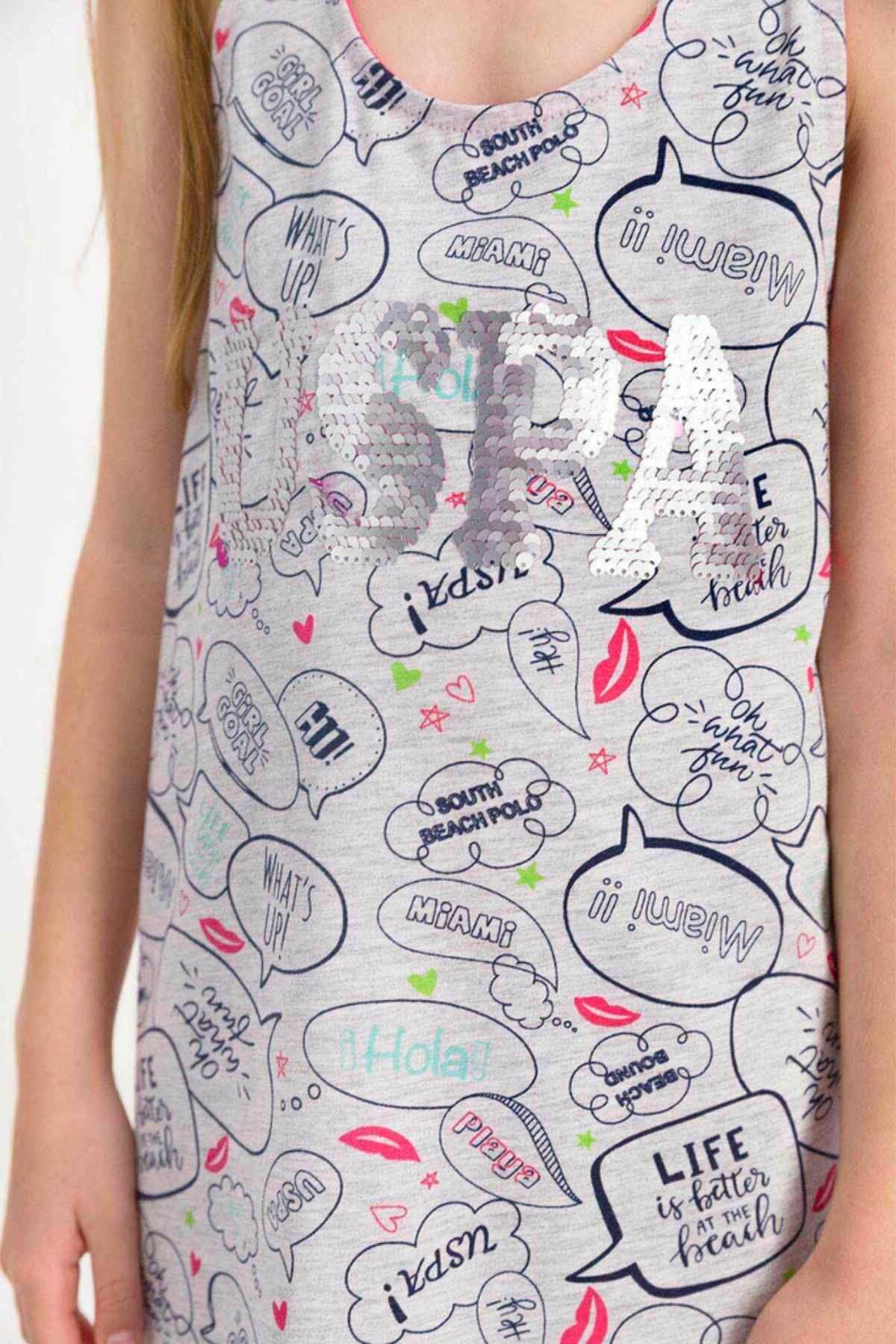 4-8 Yaş Us Polo ASSN Lisanslı Miami Gri Elbise