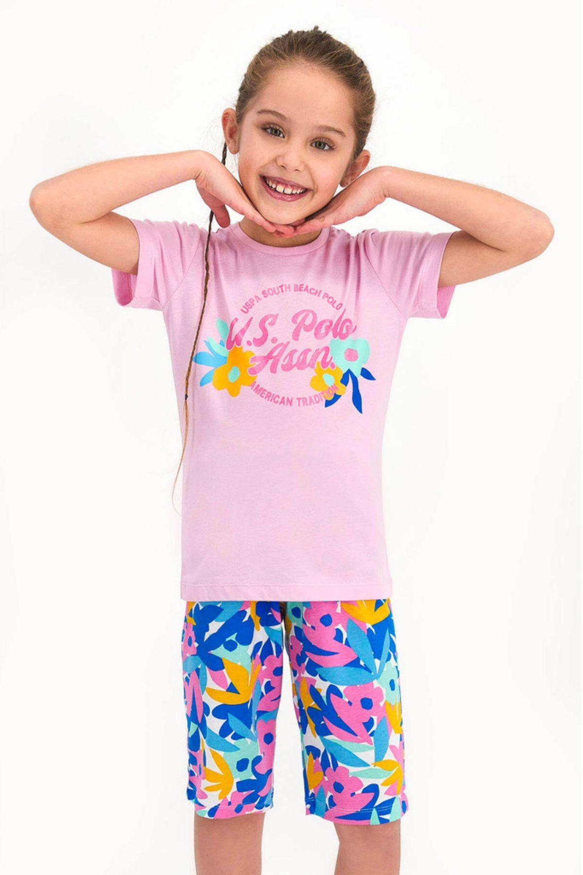 9-15 Yaş Us Polo ASSN Lisanslı South Beach Toz Pembe Kız Çocuk Takım