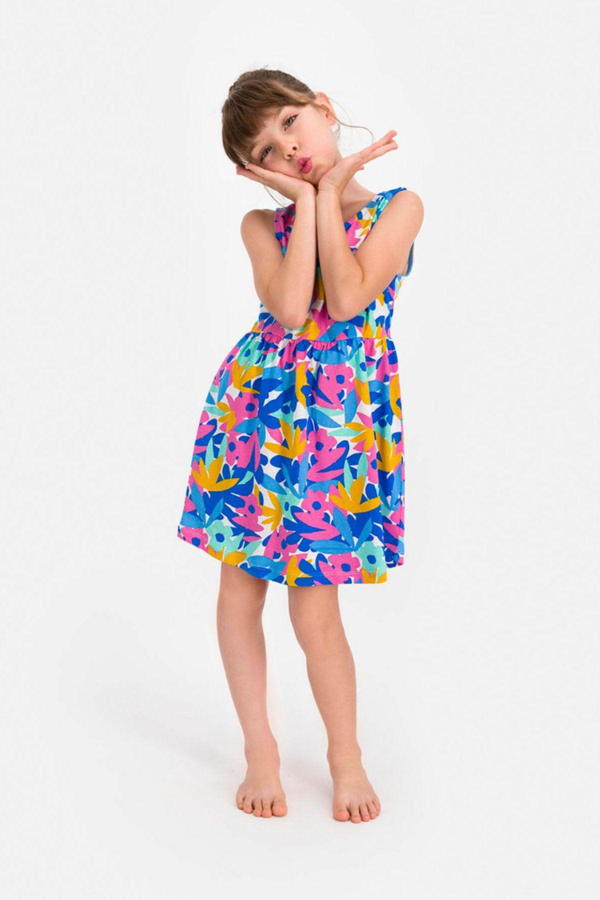 4-8 Yaş Us Polo ASSN Lisanslı Çiçek Desen Mavi Kız Çocuk Takım