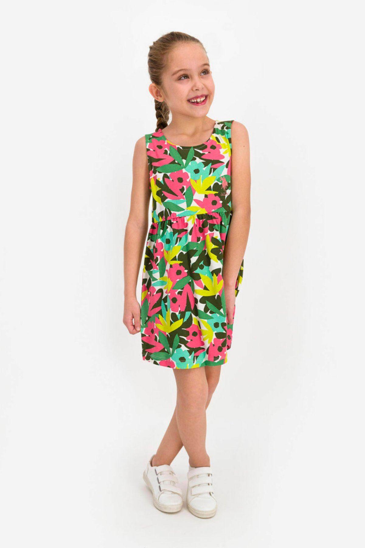 4-8 Yaş Us Polo ASSN Lisanslı Çiçek Desen Yeşil  Elbise