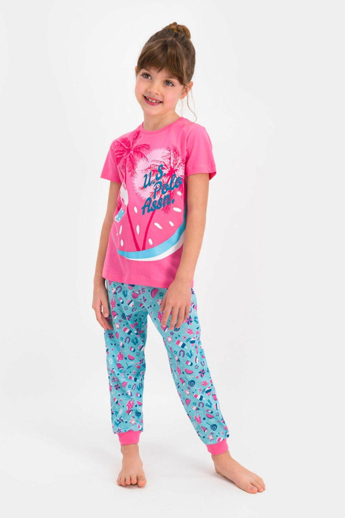 4-8 Yaş Us Polo ASSN Lisanslı Cake Pembe Kız Çocuk Pijama Takım