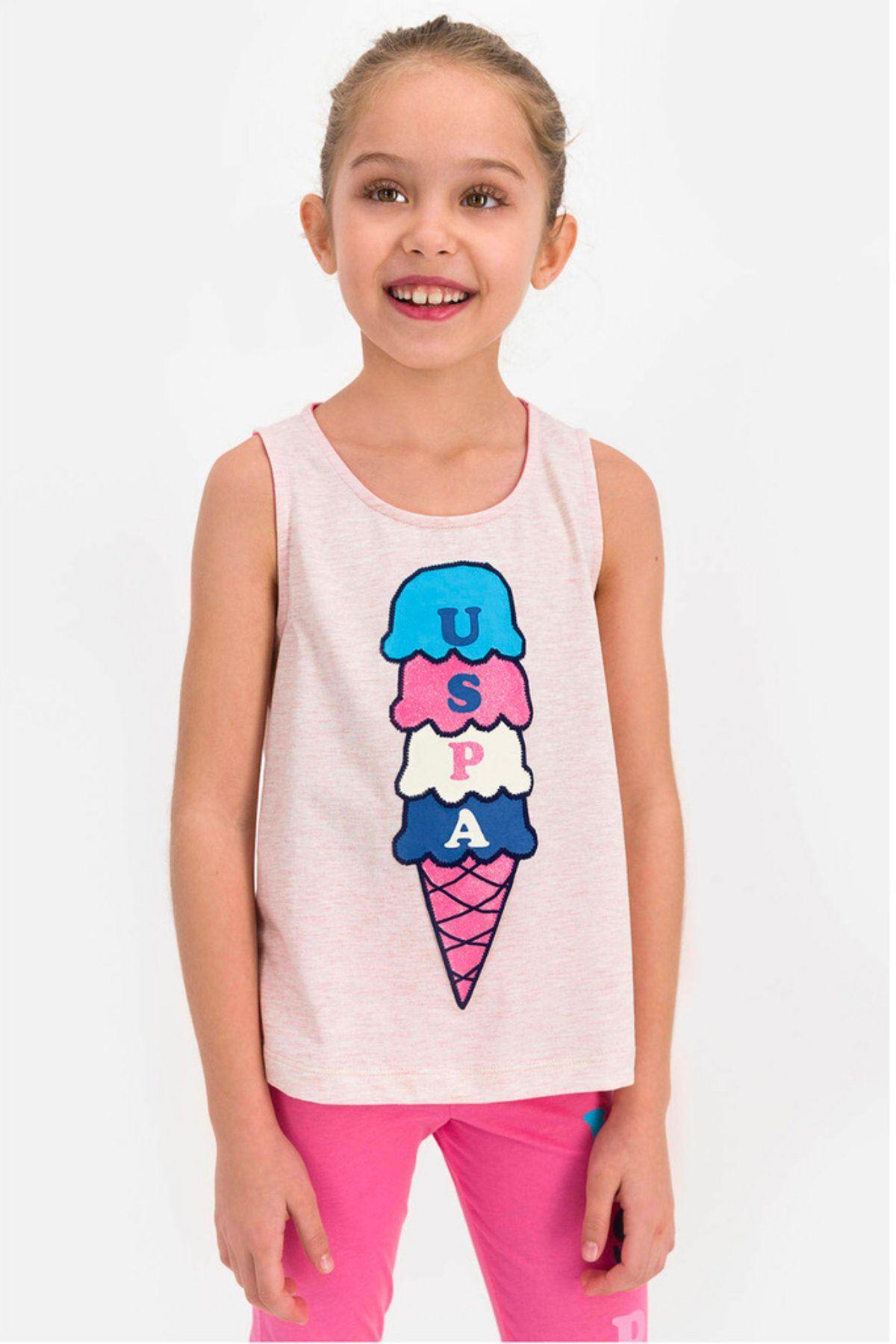 4-8 Yaş Us Polo ASSN Lisanslı Ice Cream Pudra Kız Çocuk Takım