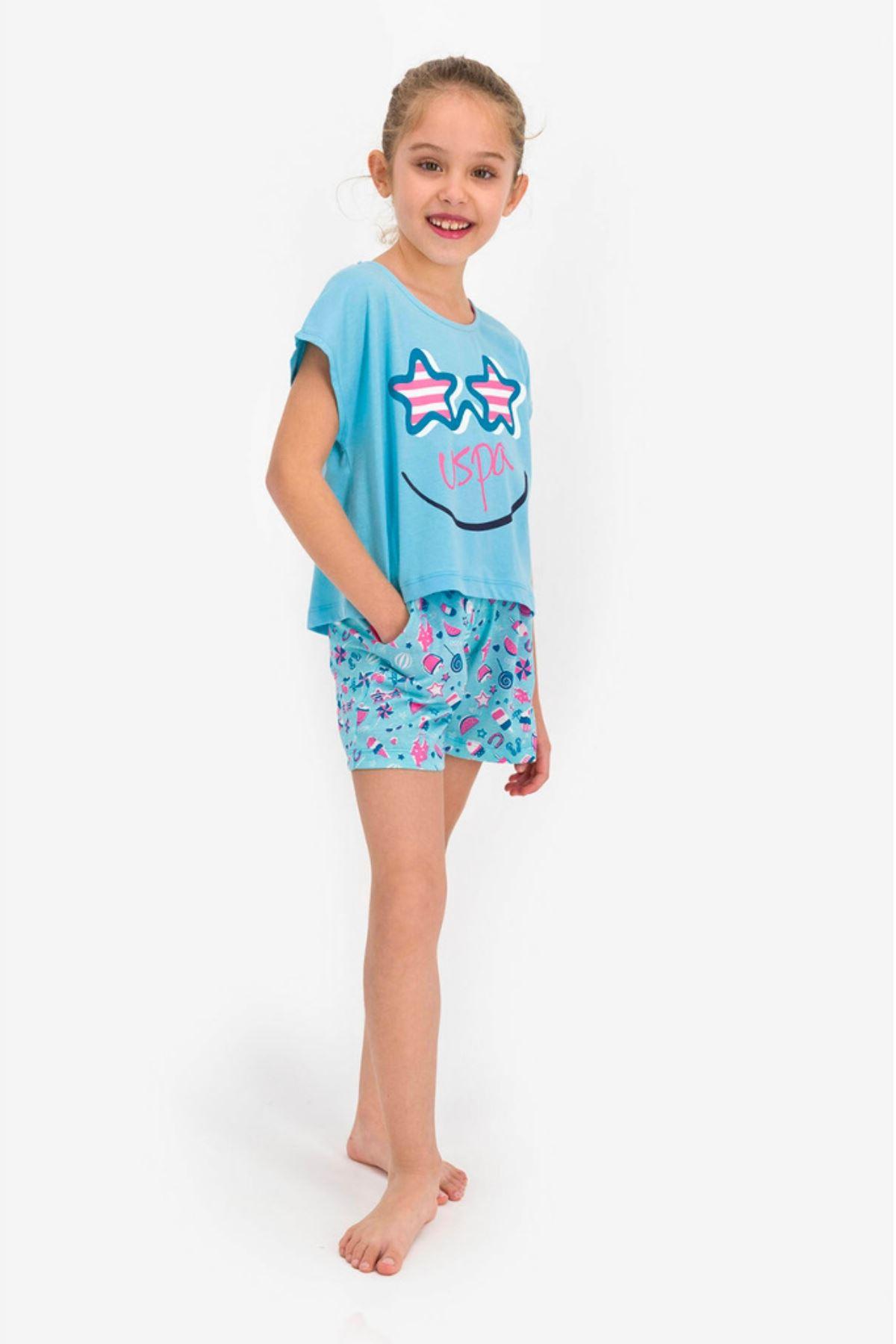 4-8 Yaş Us Polo ASSN Lisanslı Smile Mavi Kız Çocuk Takım