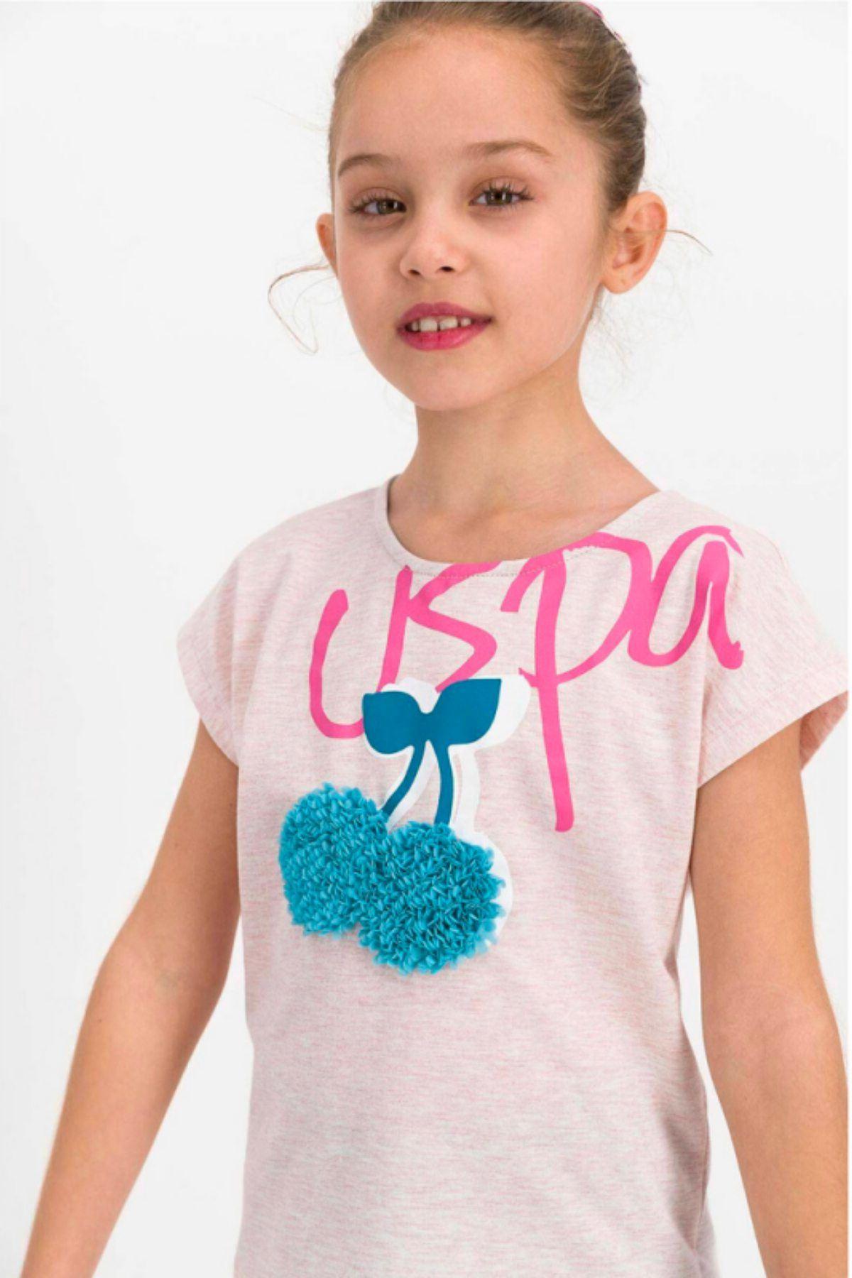 4-8 Yaş Us Polo ASSN Lisanslı Cherry Krem Kız Çocuk Takım
