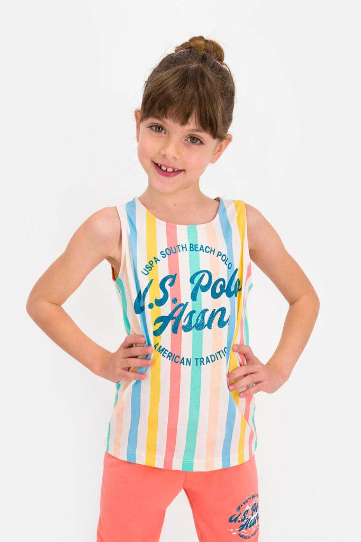 9-15 Yaş Us Polo ASSN Lisanslı Turuncu Şerit Kız Çocuk Takım