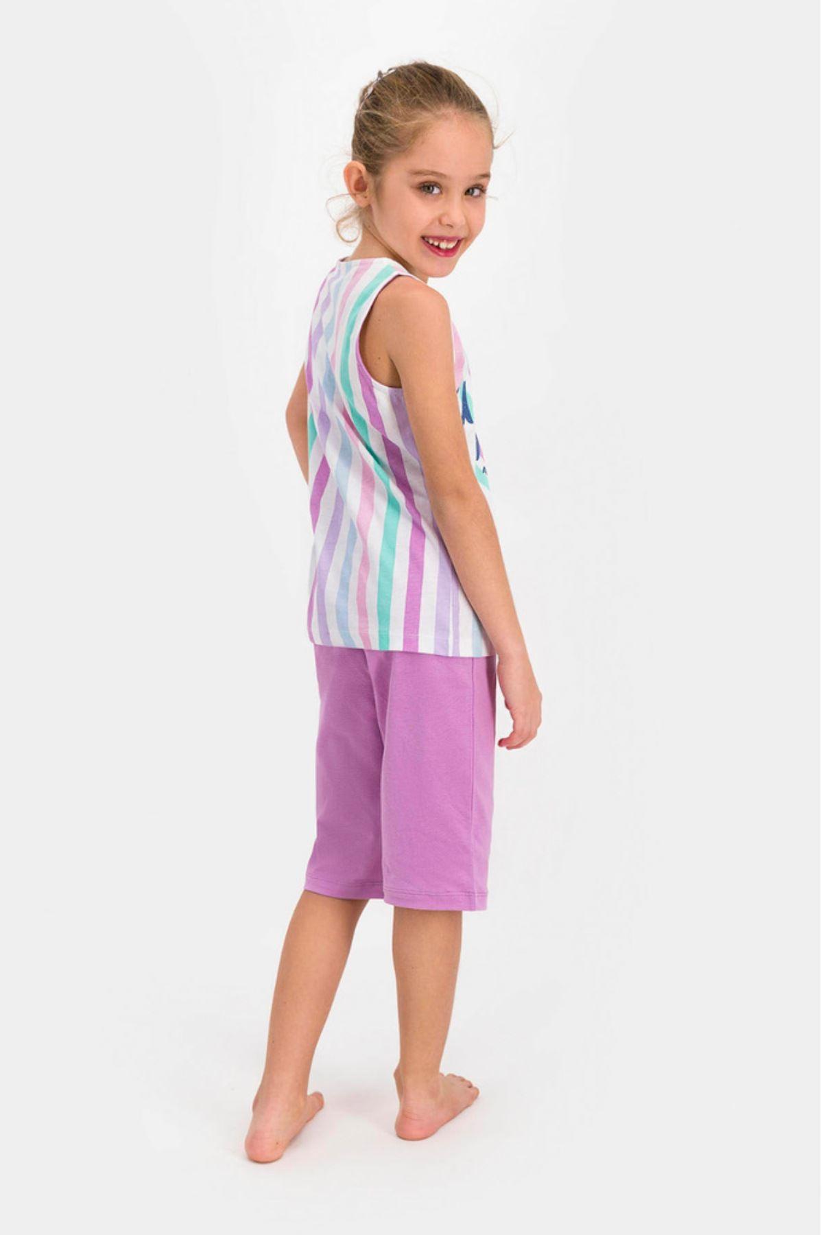 9-15 Yaş Us Polo ASSN Lisanslı Mor Şerit Kız Çocuk Takım