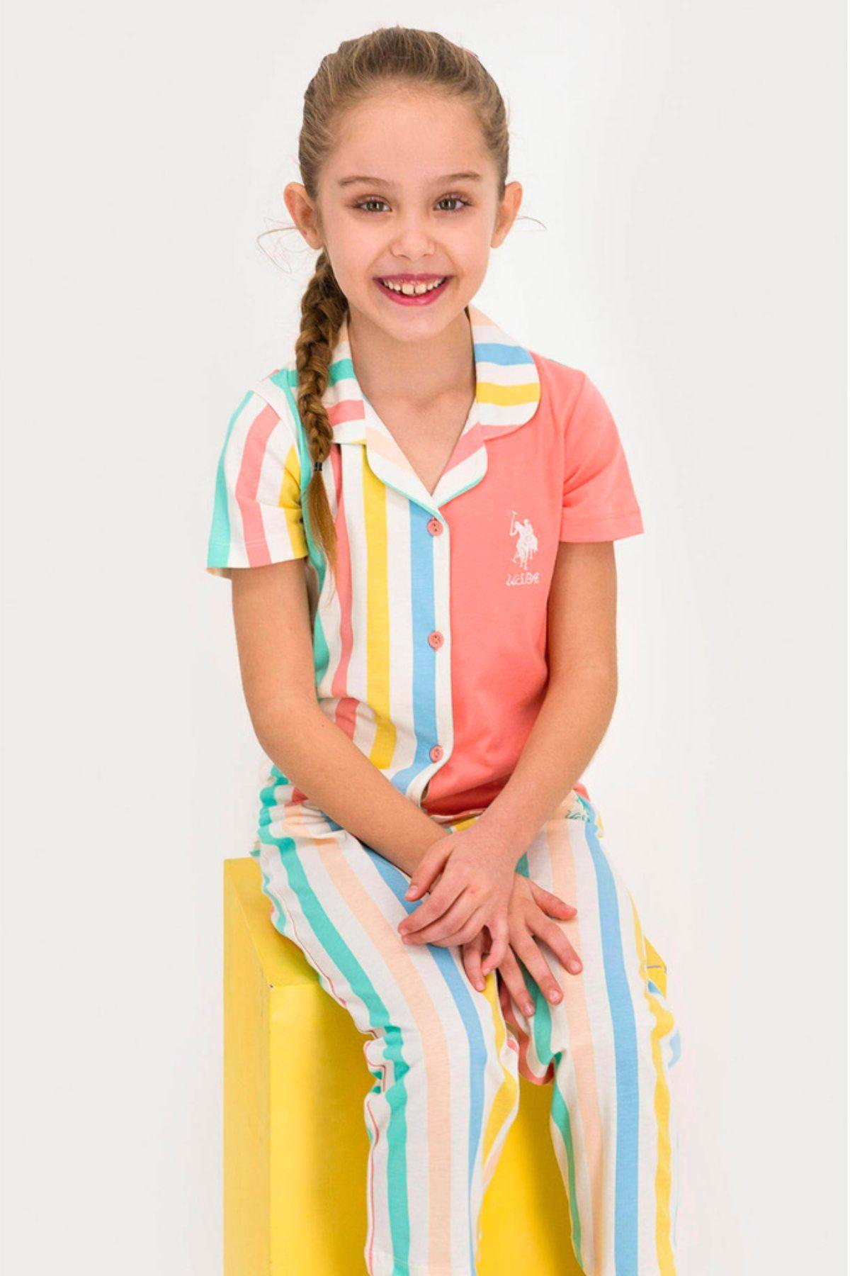 4-8 Yaş Us Polo ASSN Lisanslı Turuncu Şerit  Kız Çocuk Pijama Takım