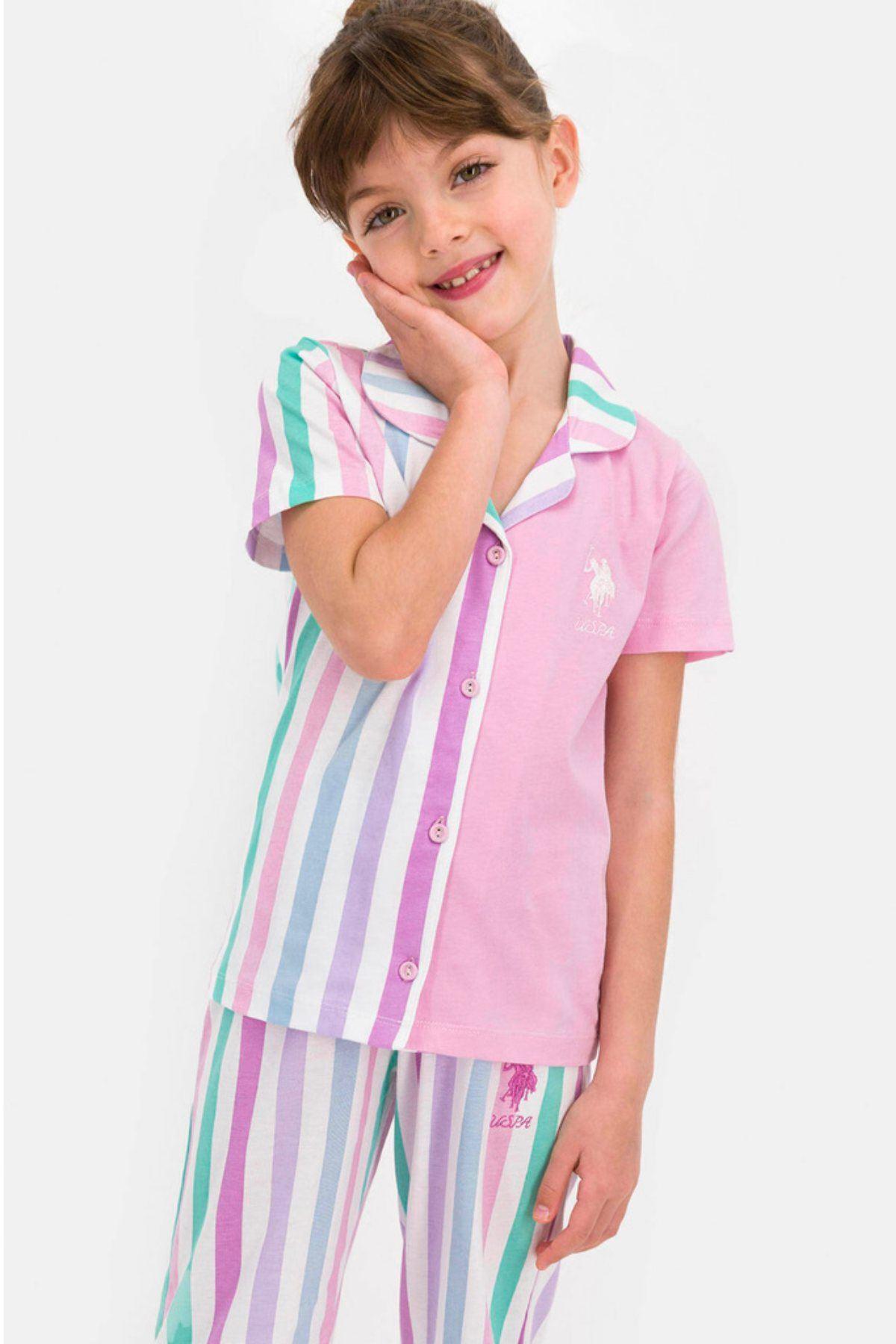 9-15 Yaş Us Polo ASSN Lisanslı Mor Şerit Çocuk Pijama Takım