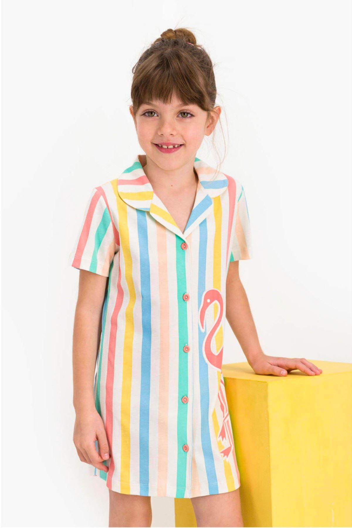 4-8 Yaş Us Polo ASSN Lisanslı Kız Çocuk Gömlek Elbise
