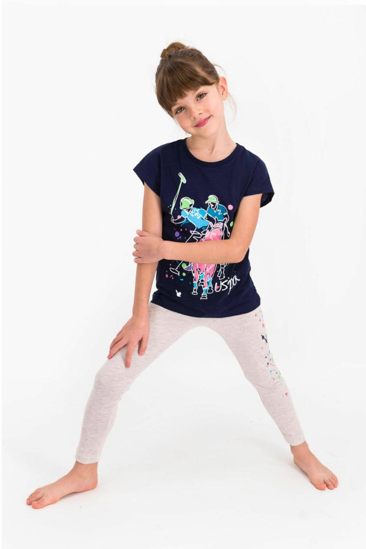 4-8 Yaş Us Polo ASSN Lisanslı Paint Laci Kız Çocuk Takım