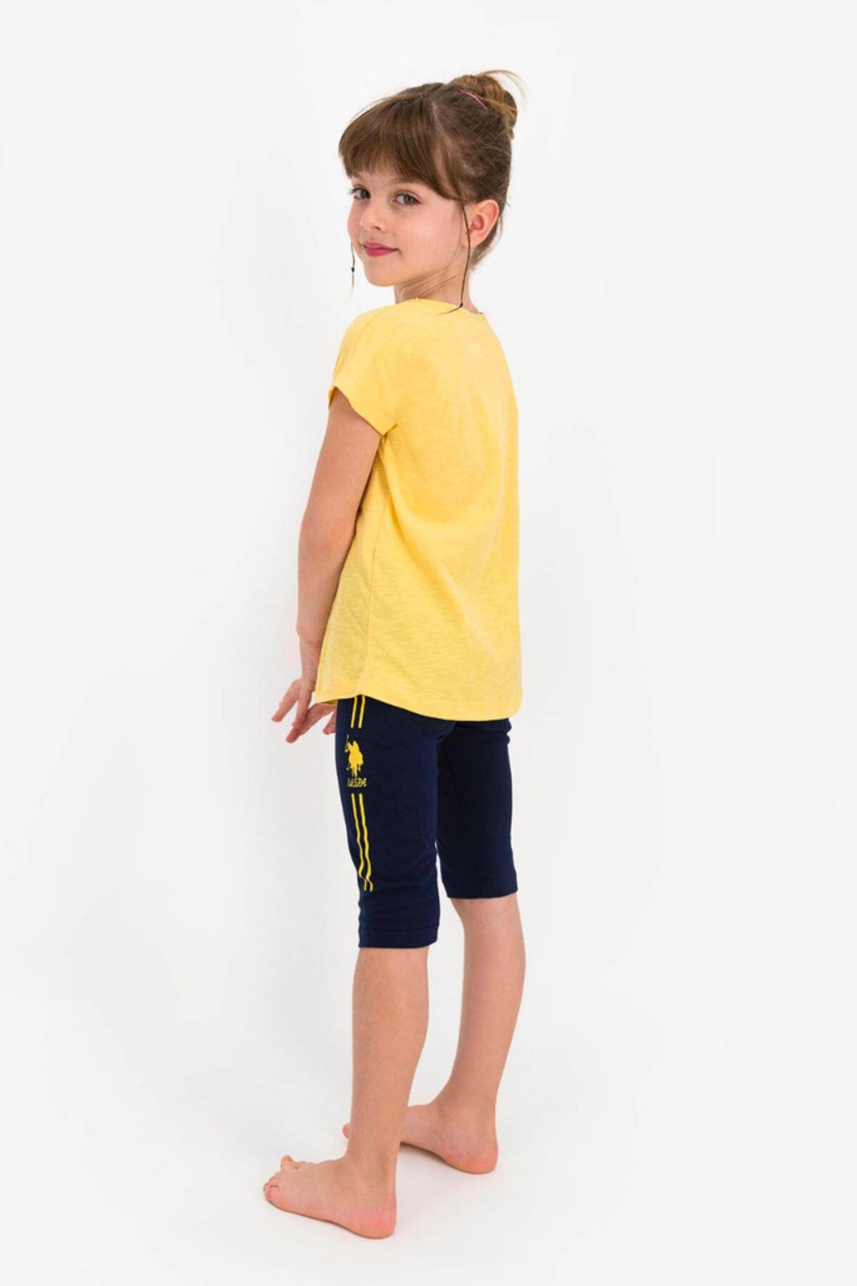 4-8 Yaş Us Polo ASSN Lisanslı Girl Sarı Kız Çocuk Takım