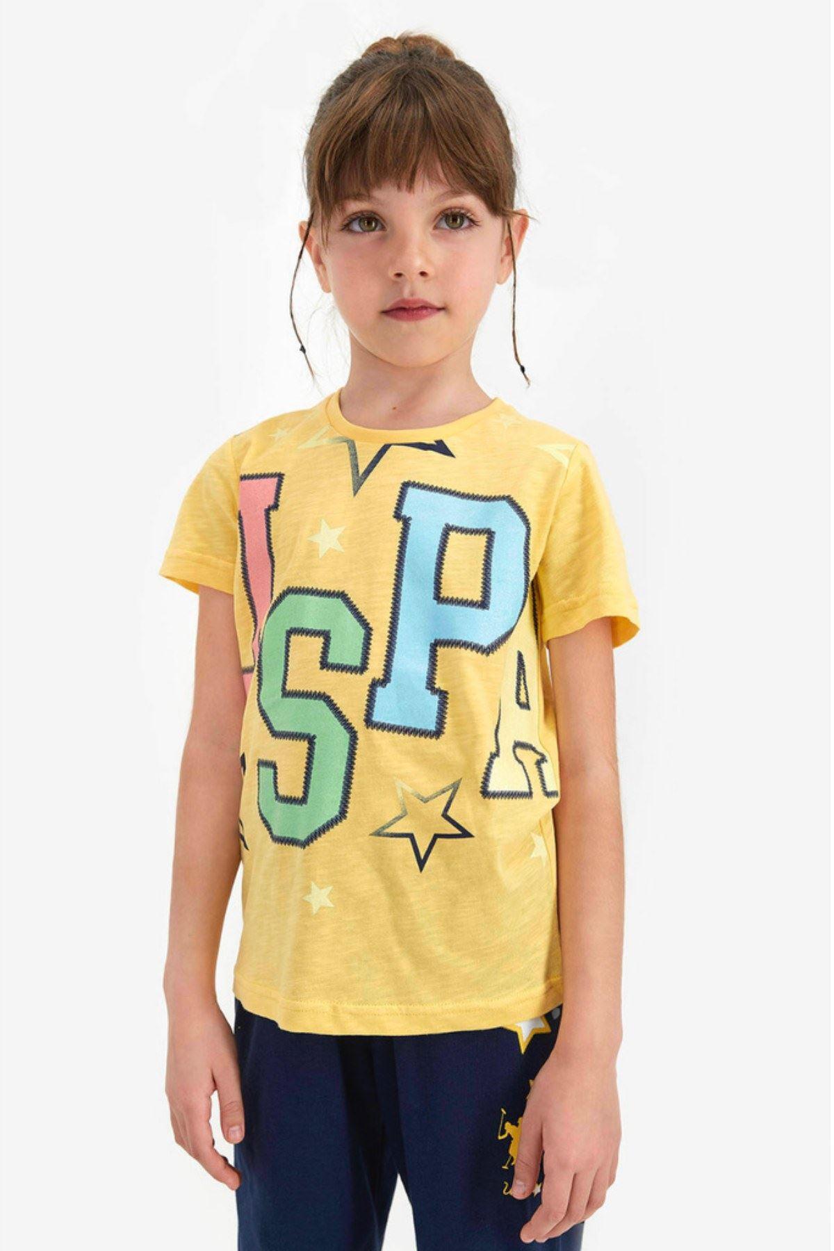 4-8 Yaş Us Polo ASSN Lisanslı Star Sarı Kız Çocuk Takım