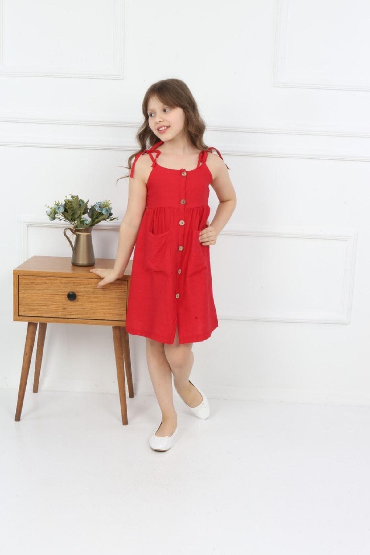 3-14 Yaş Önü Düğme Detaylı Elbise - Kırmızı