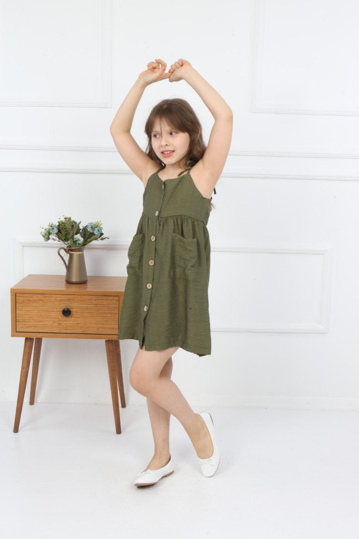 3-14 Yaş Önü Düğme Detaylı Elbise - Haki