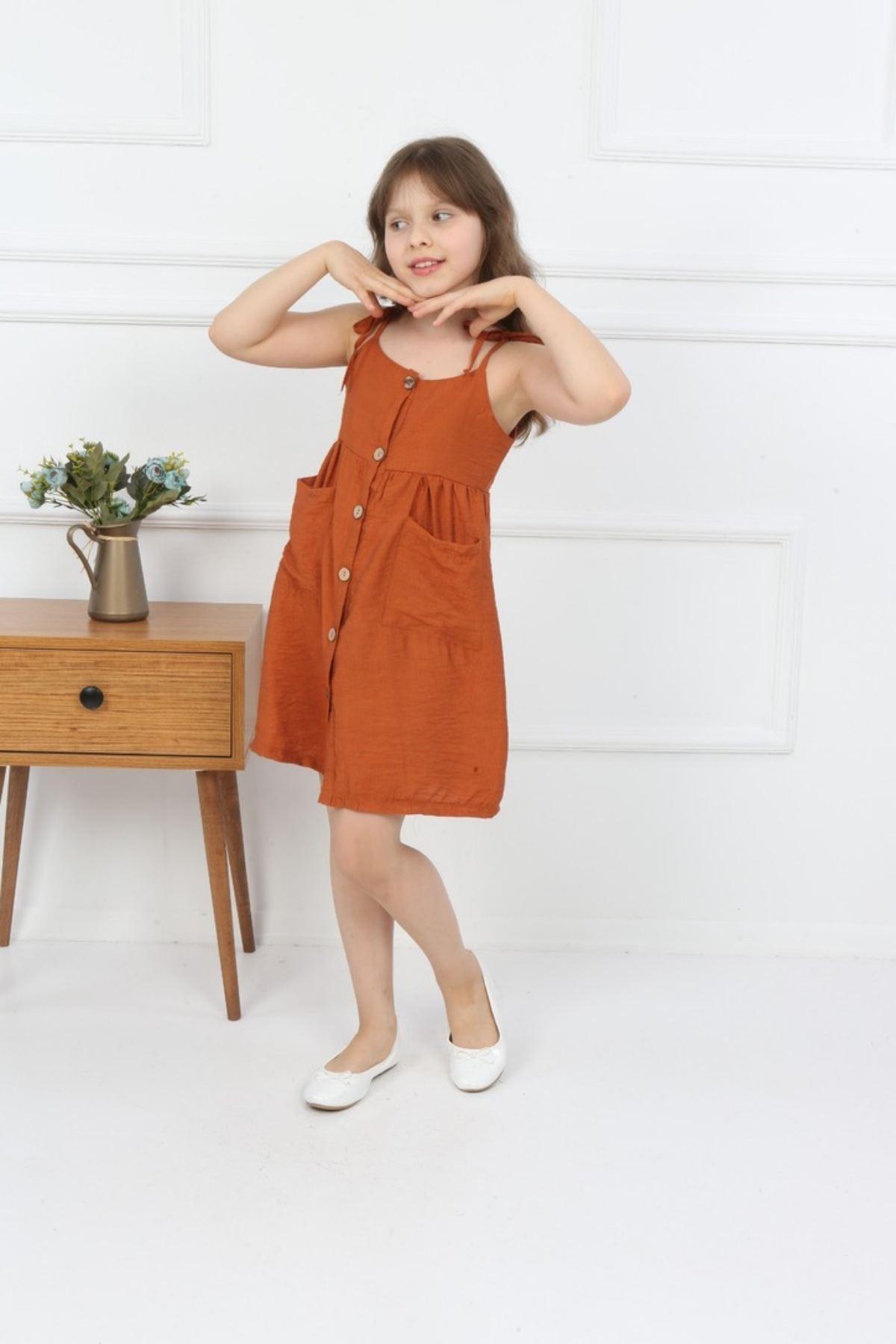 3-14 Yaş Önü Düğme Detaylı Elbise - Kiremit