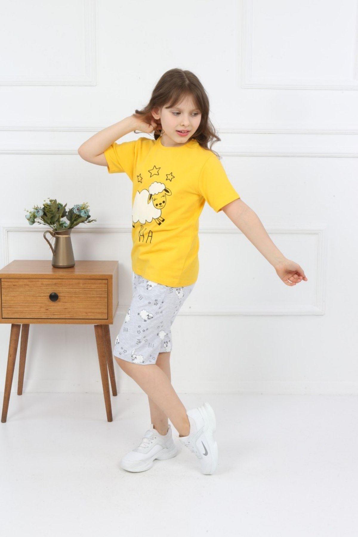Kuzu Baskılı Şortlu Kız Takım- Sarı