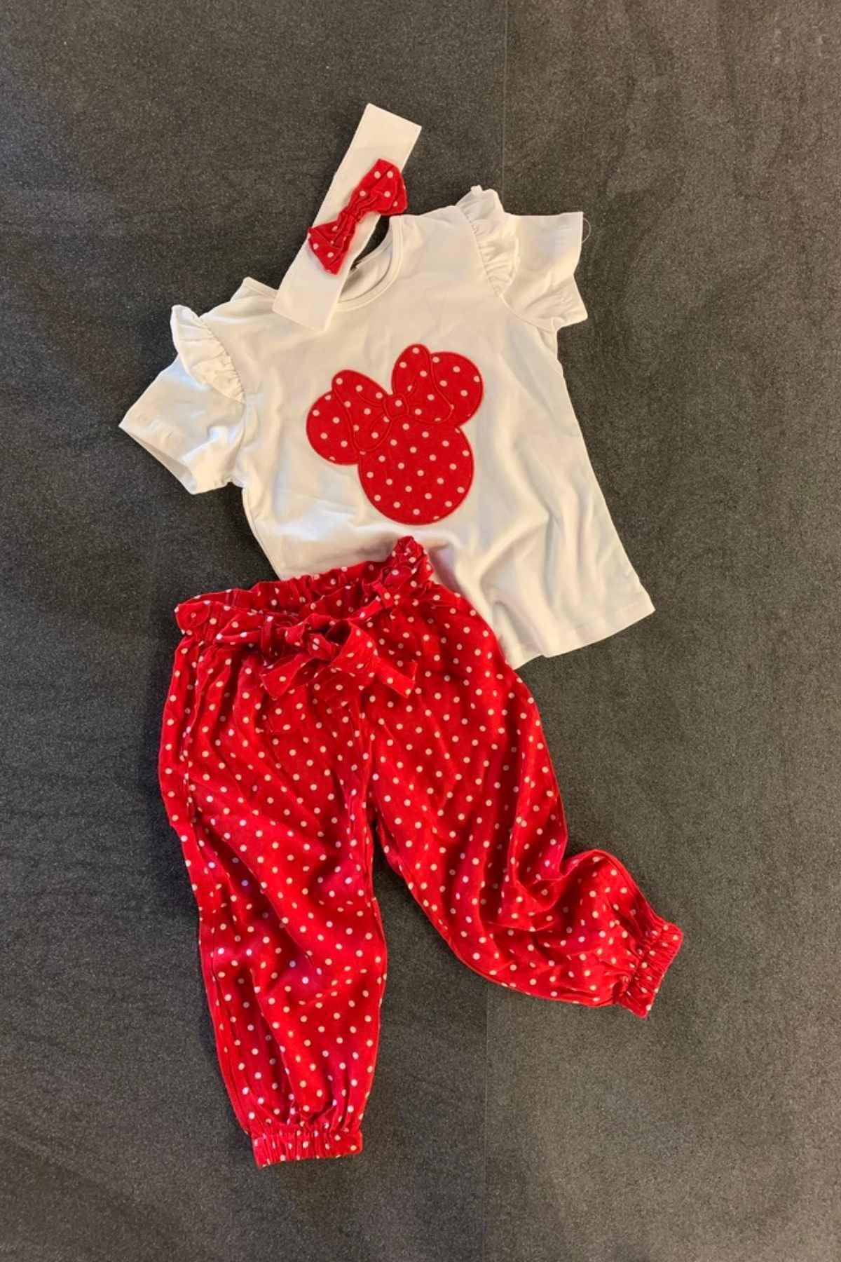 3-10 Yaş Bandanalı Pantolon Takım - Kırmızı