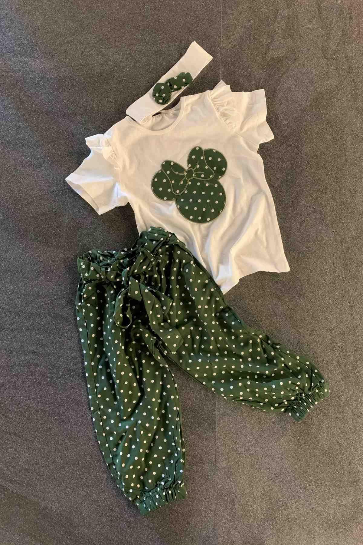 3-10 Yaş Bandanalı Pantolon Takım - Yeşil