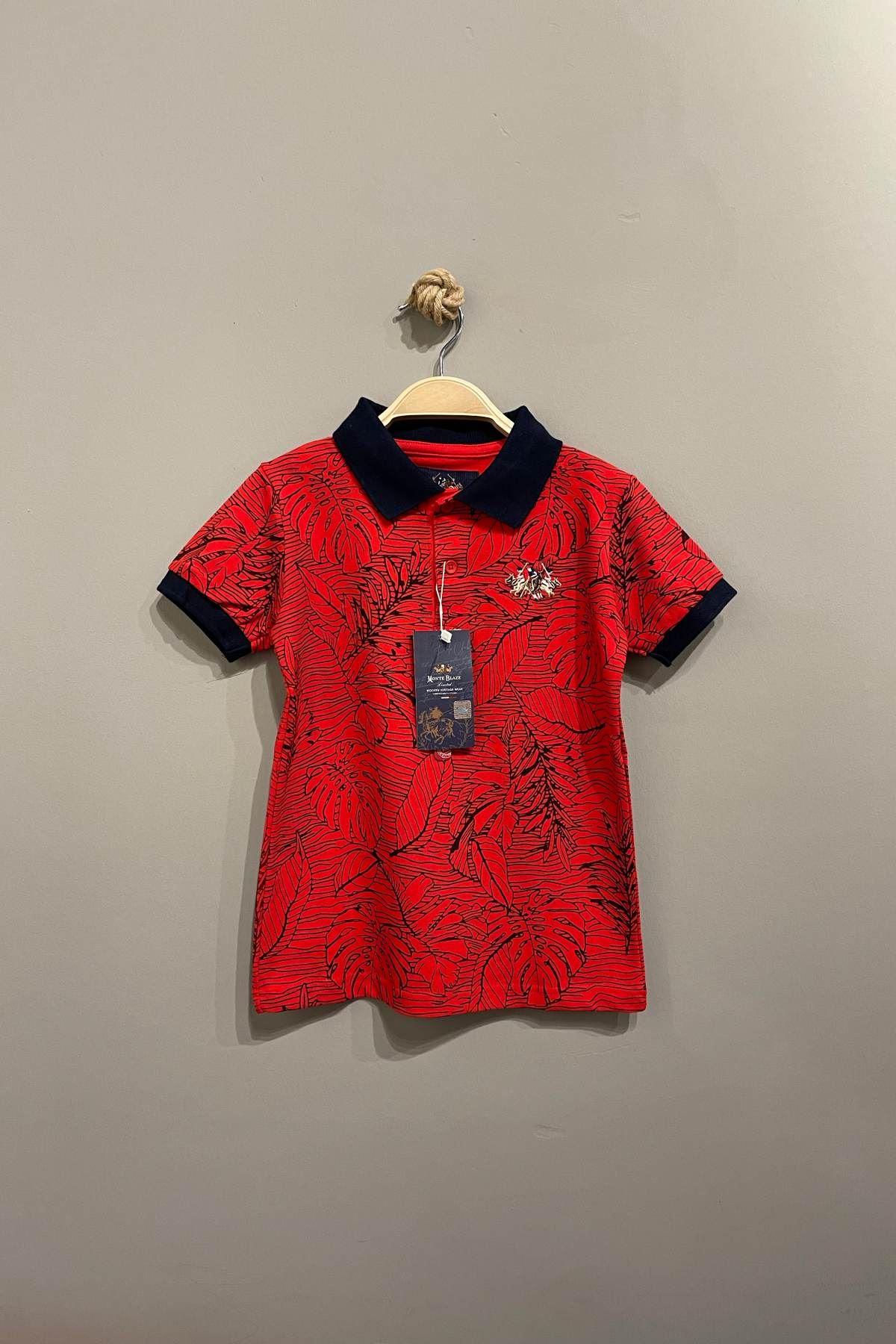 Monte Blaze Desenli Polo Yaka T-Shırt - Kırmızı