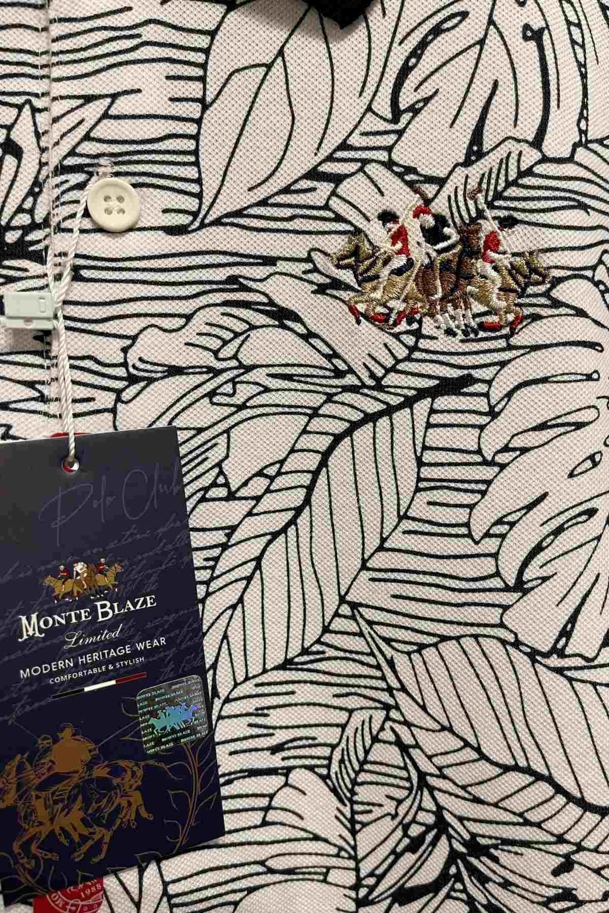 Monte Blaze Desenli Polo Yaka T-Shırt - Ekru