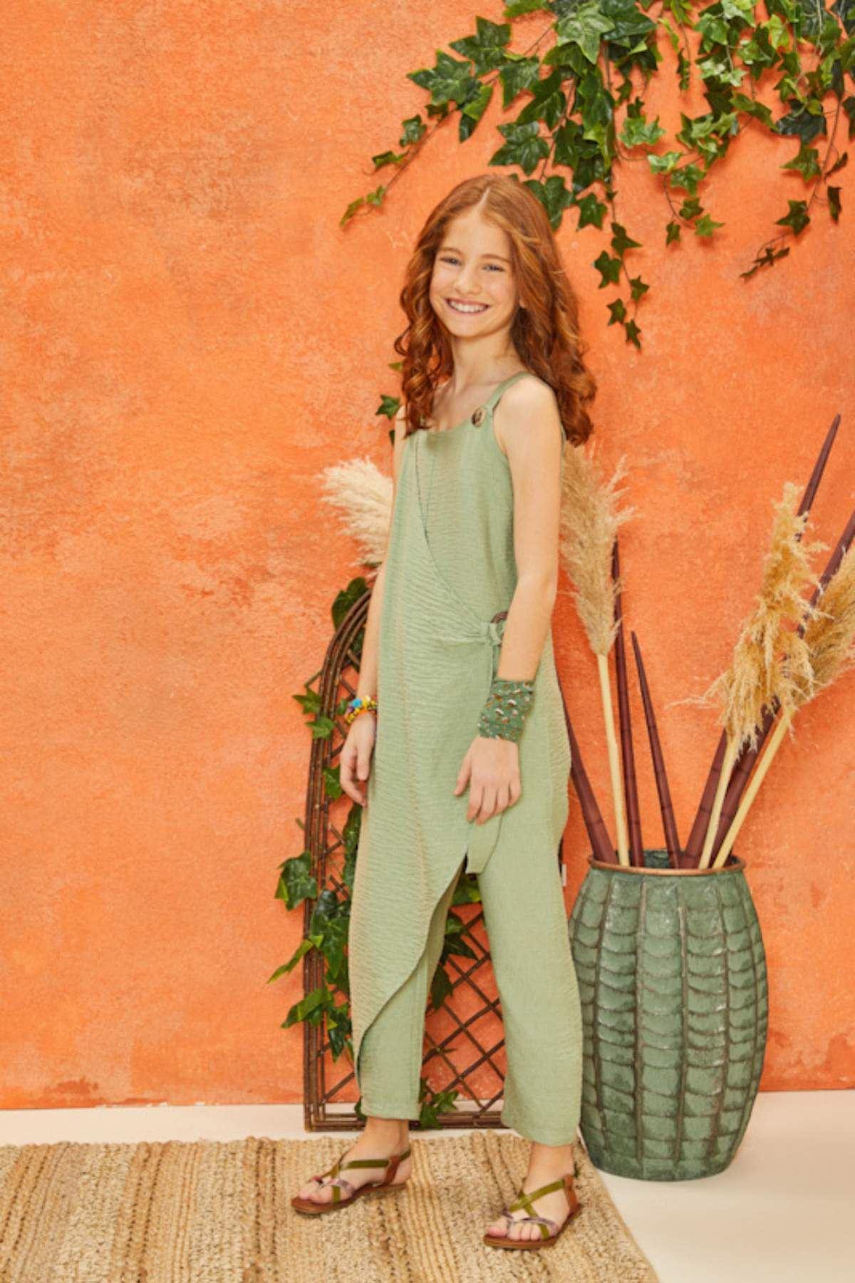 Yeşil Yazlık Kız Çocuk Tulum