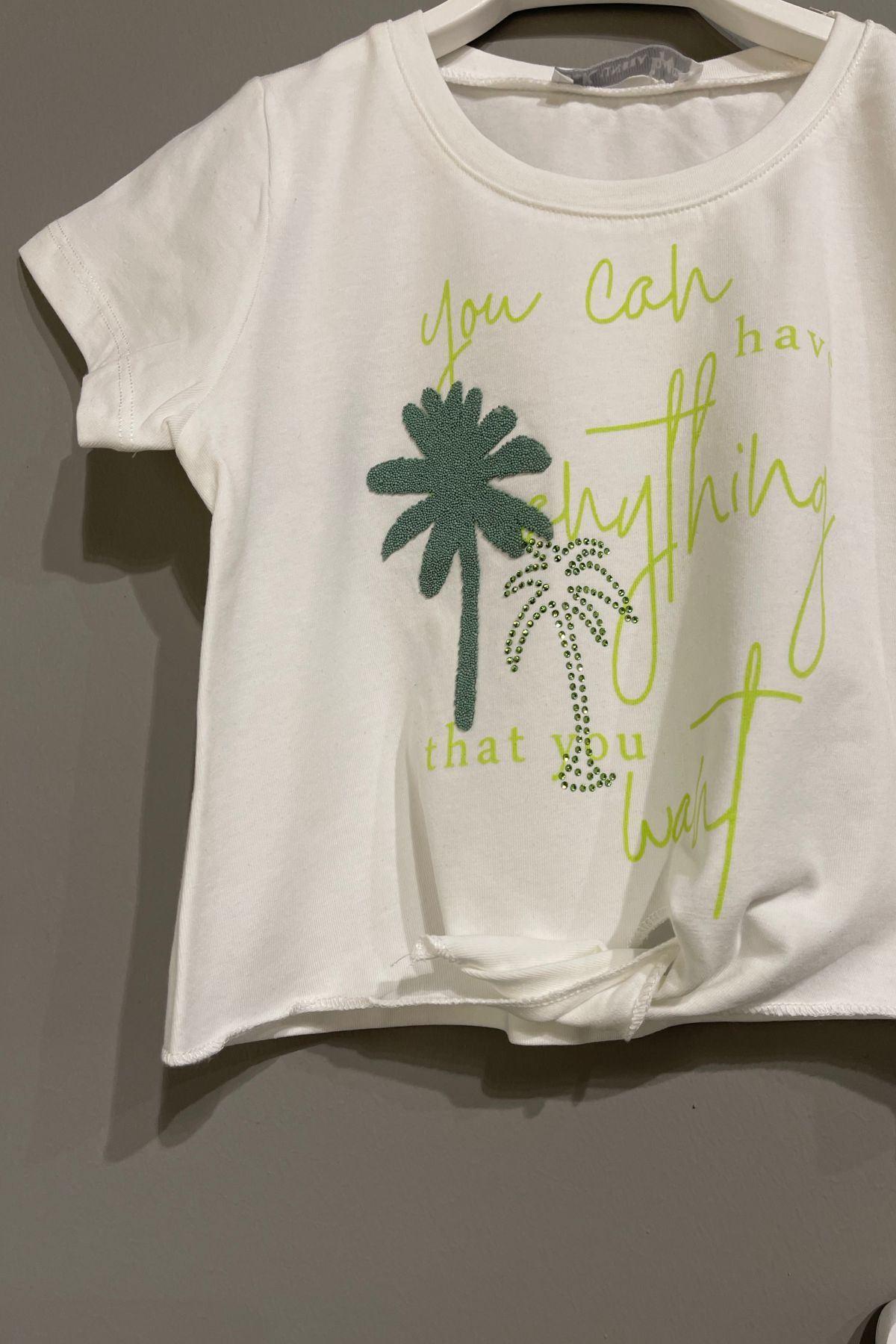 Palmiye Figürlü Şortlu Takım - Yeşil
