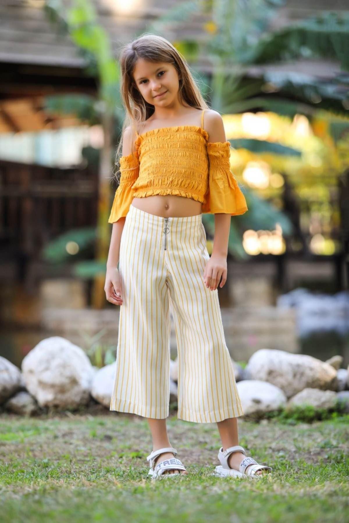 Crop Bluz- Pantolonlu Kız Çocuk Takım