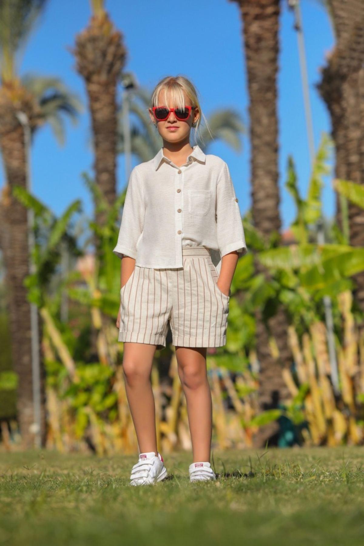 Gars Gömlekli Kız Çocuk Şortlu Takım
