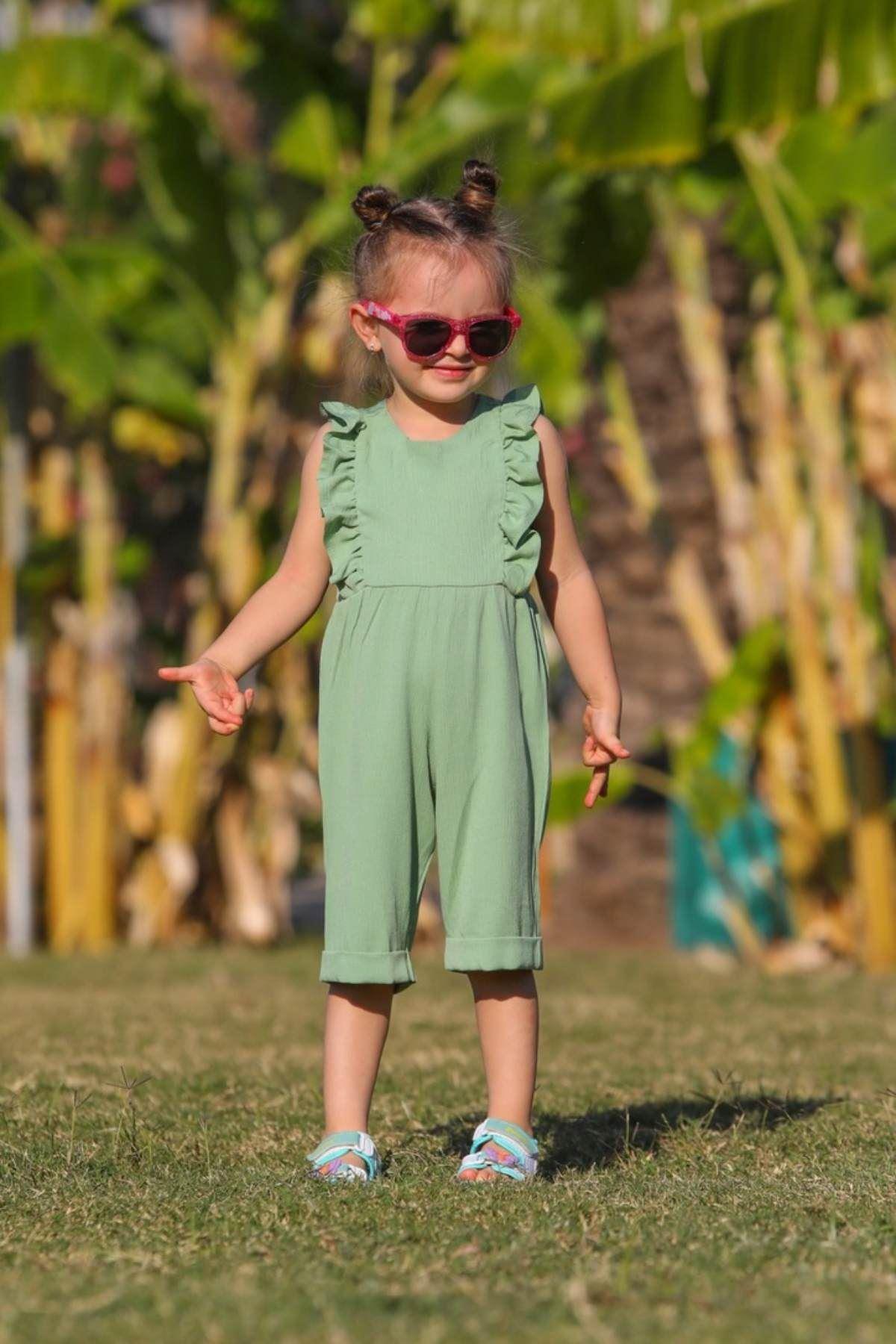 Volanlı Yeşil Kız Çocuk Tulum