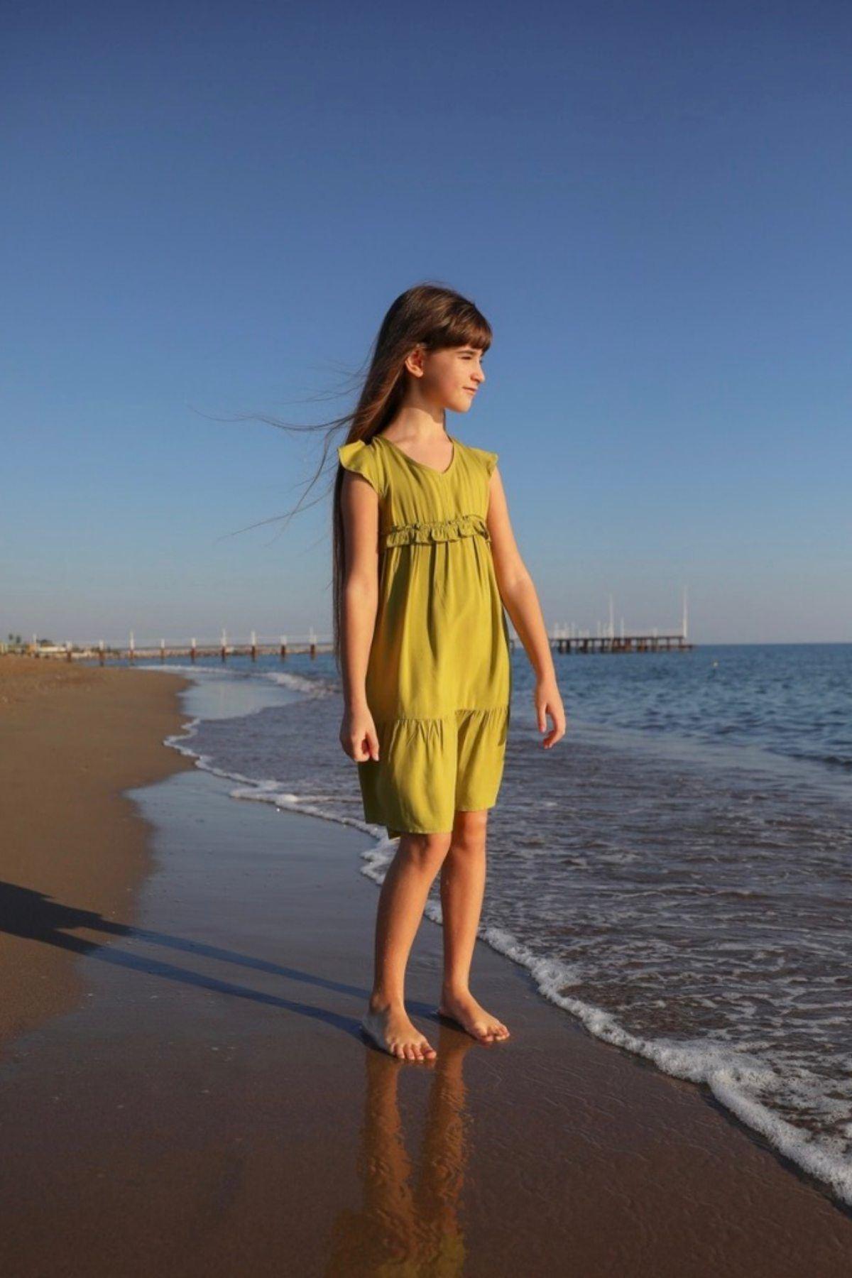 Sahil Yeşil Kız Çocuk Elbise