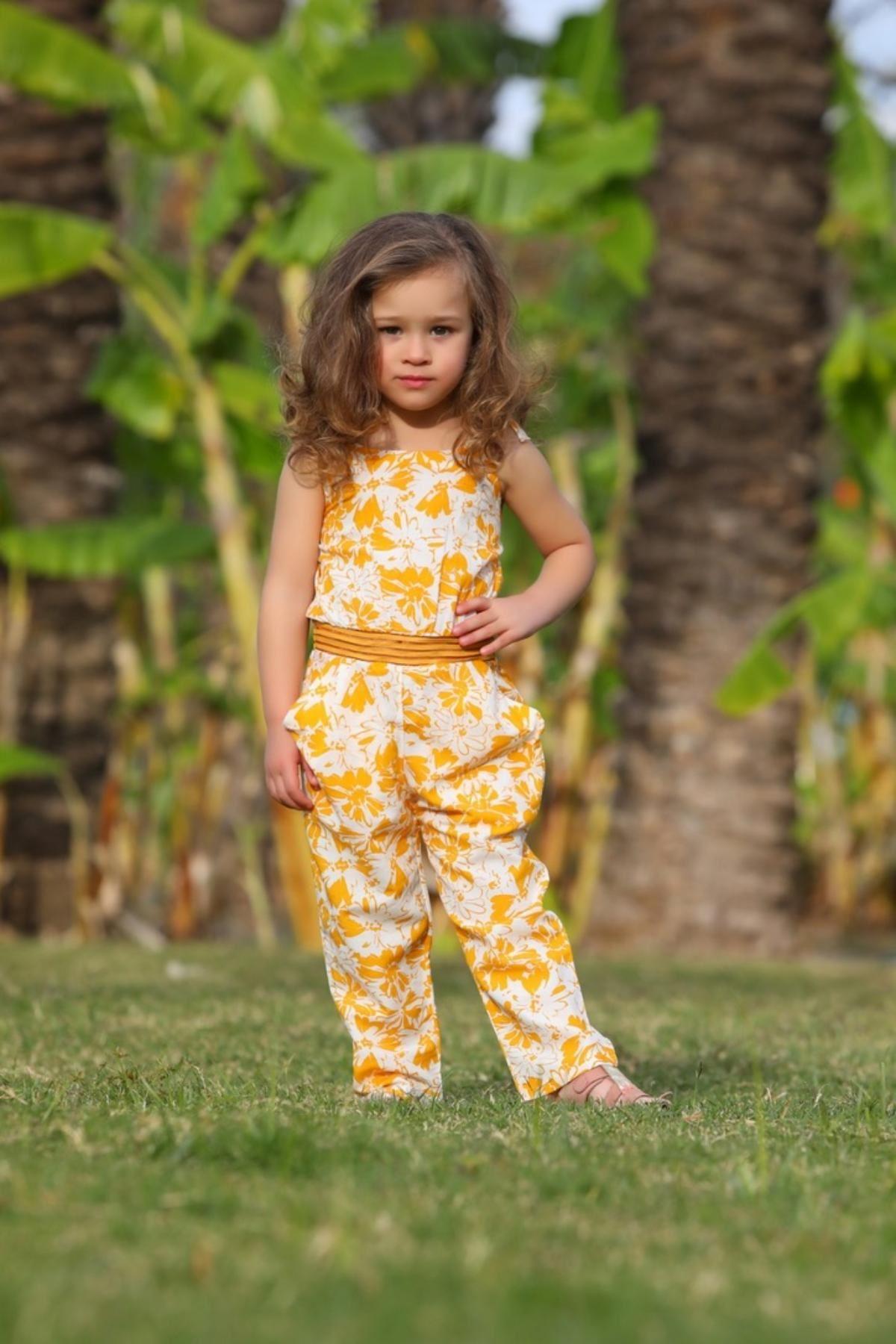 Çiçek Desen Kız Çocuk Tulum- Sarı