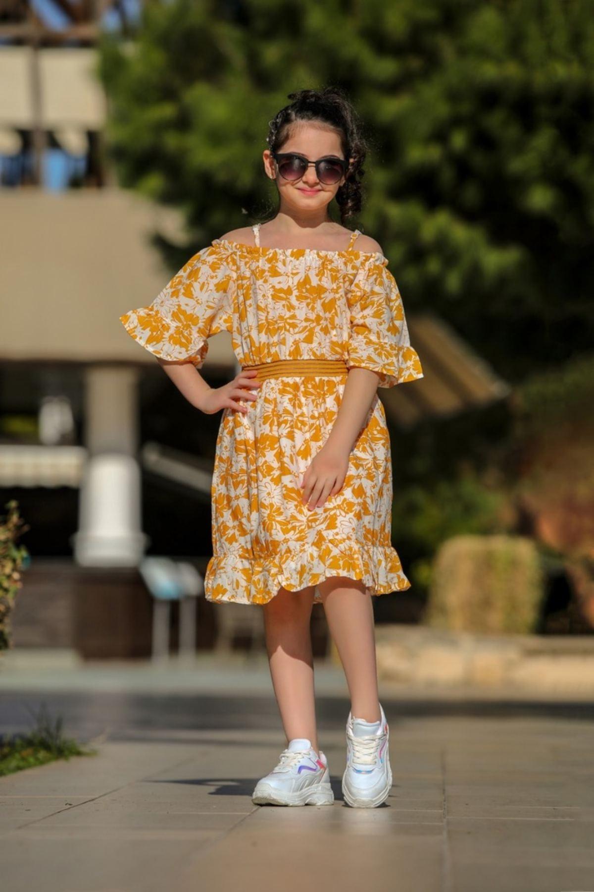 Çiçek Desen Kız Çocuk Elbise