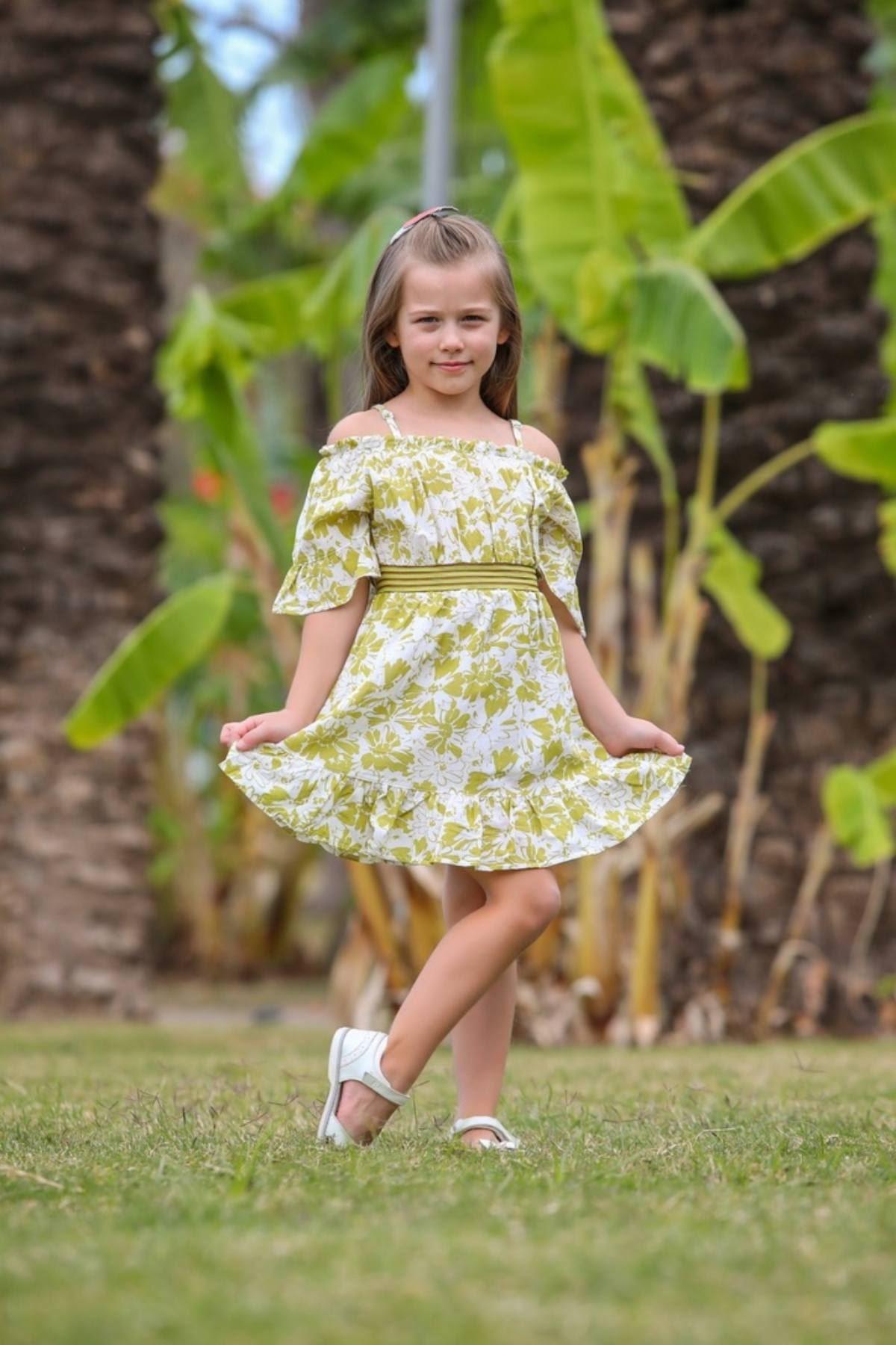 Çiçek Desen Kız Çocuk Elbise - Yeşil