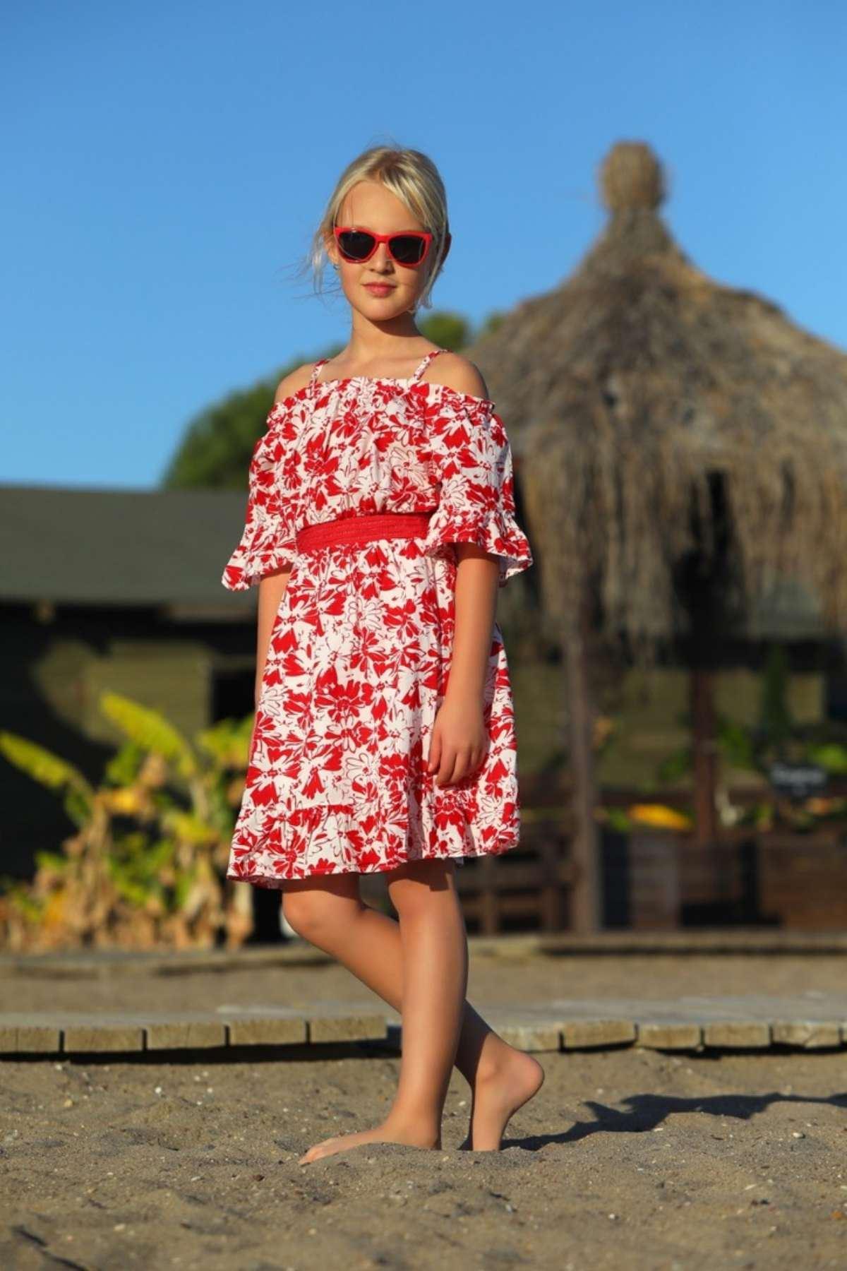 Çiçek Desen Kız Çocuk Elbise - Kırmızı