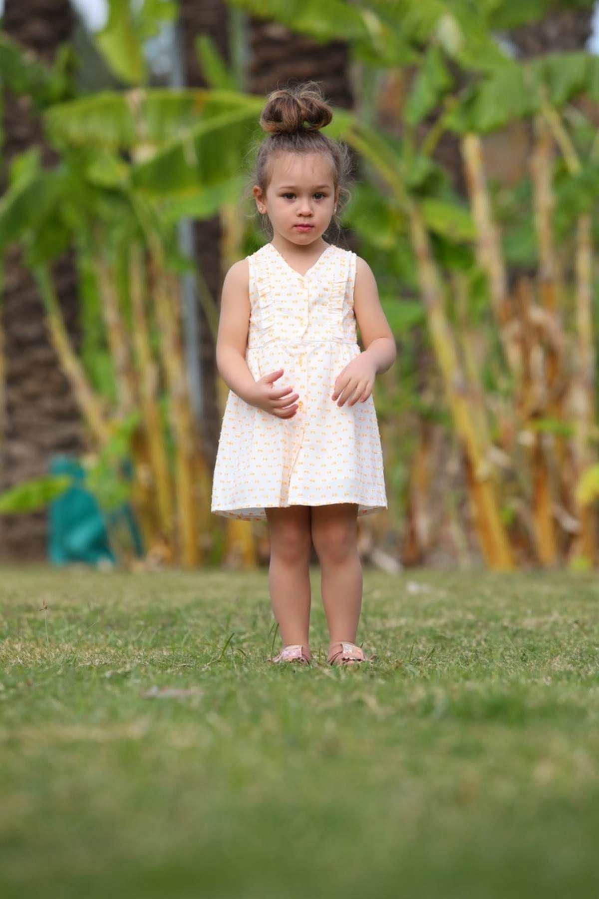 Düğmeli Neon Kız Bebek Elbise