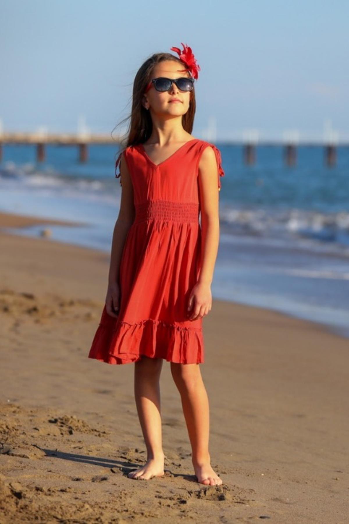 Alaçatı Kız Çocuk Elbise -Kiremit
