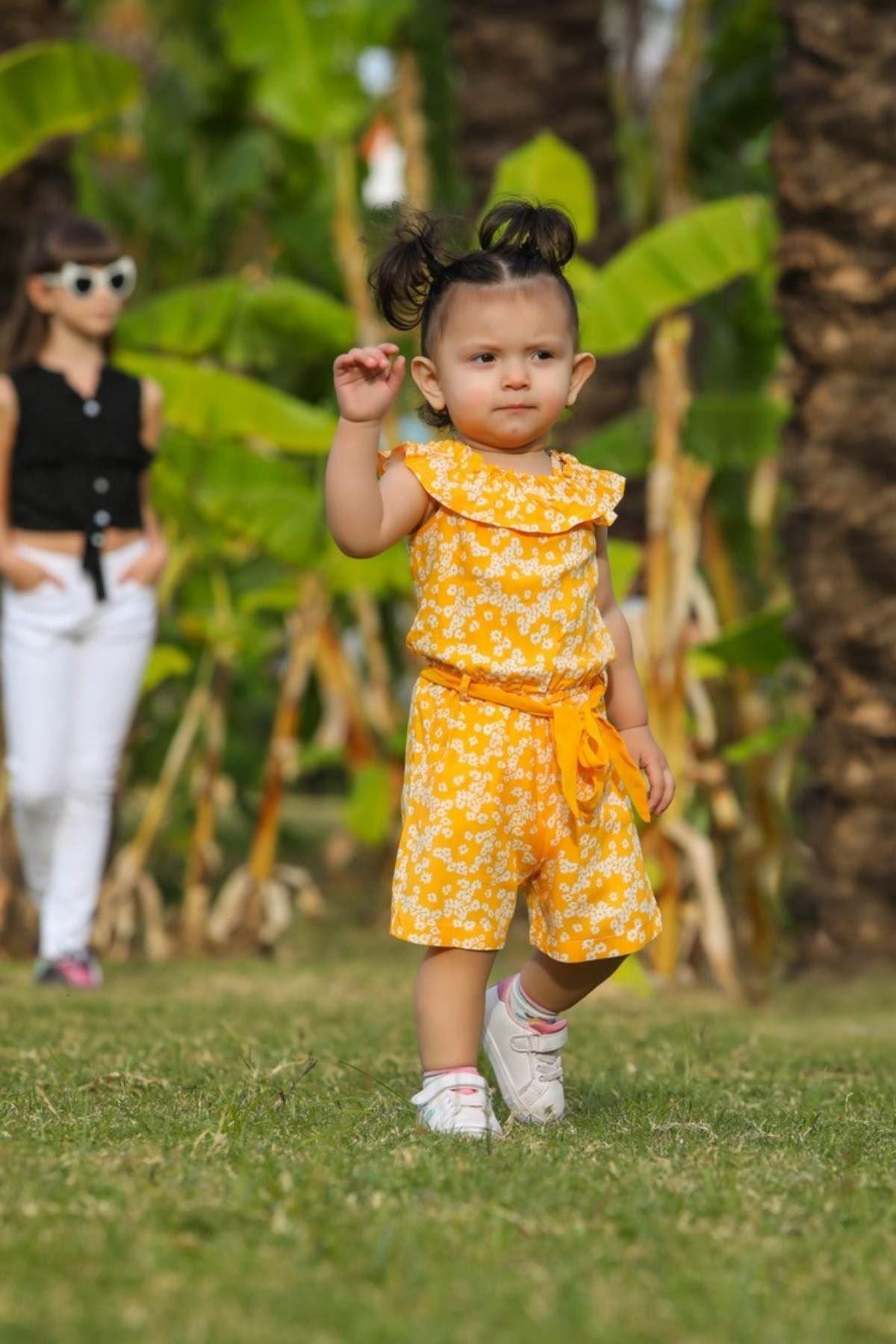 Çiçek Desen Kız Çocuk Şort Tulum- Sarı