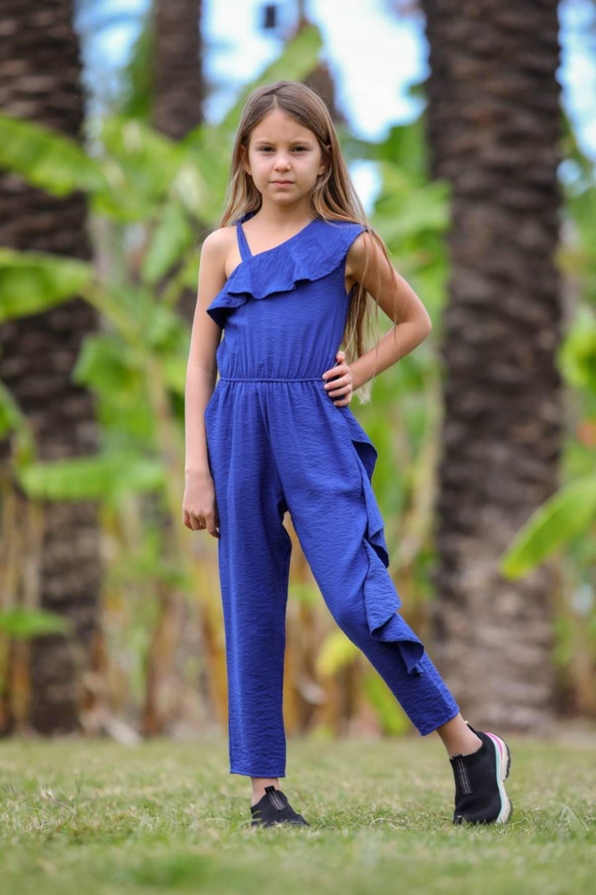 Volanlı Omuz Detaylı Kız Çocuk Tulum -Saks