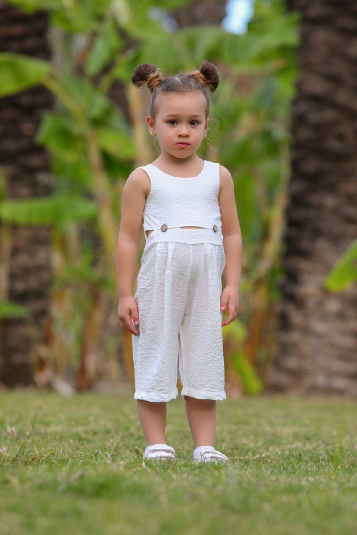 Kız Bebek Ekru Tulum